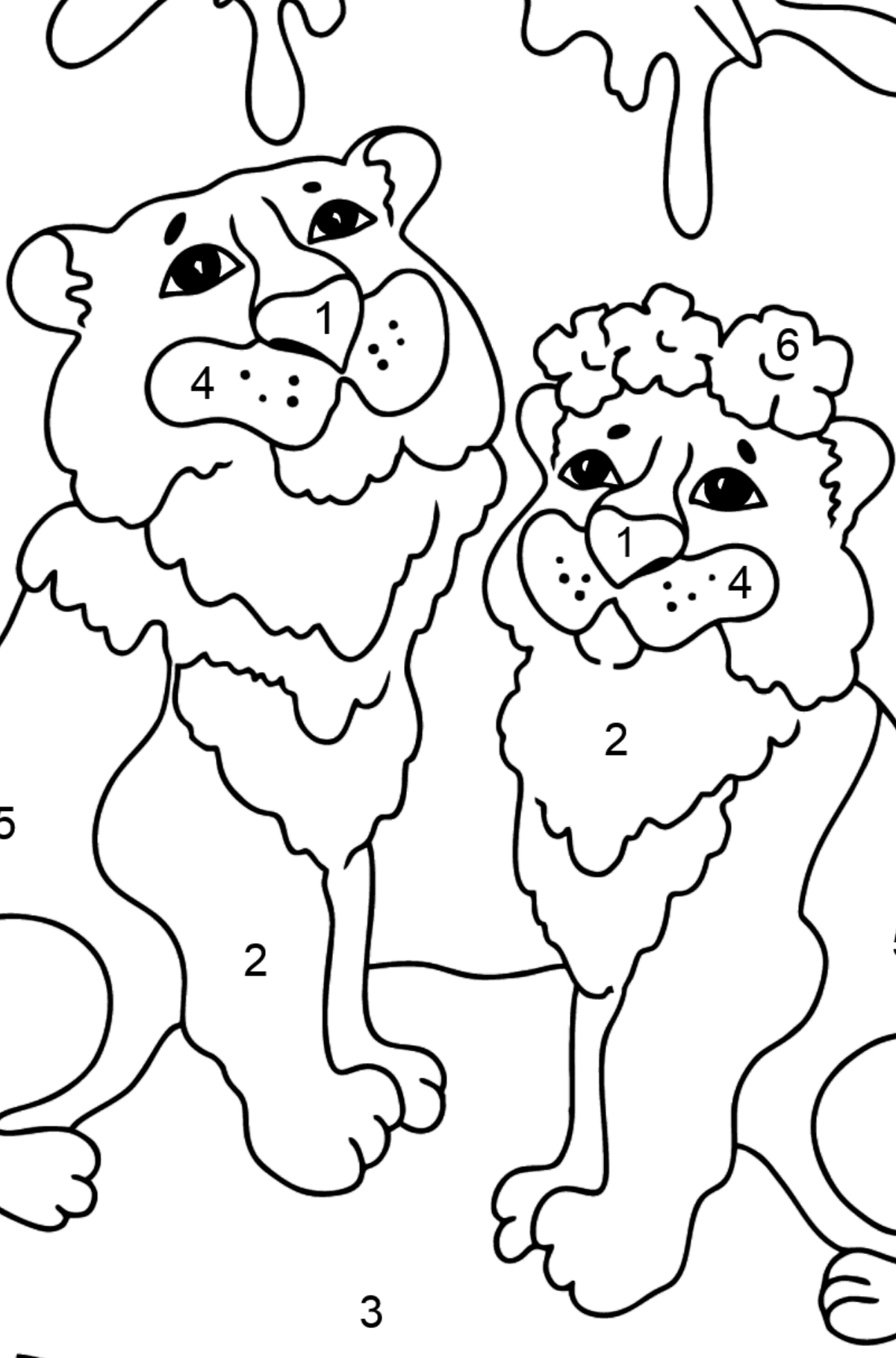 Coloring Page - A Tiger with a Tigress - Coloring by Numbers for Kids