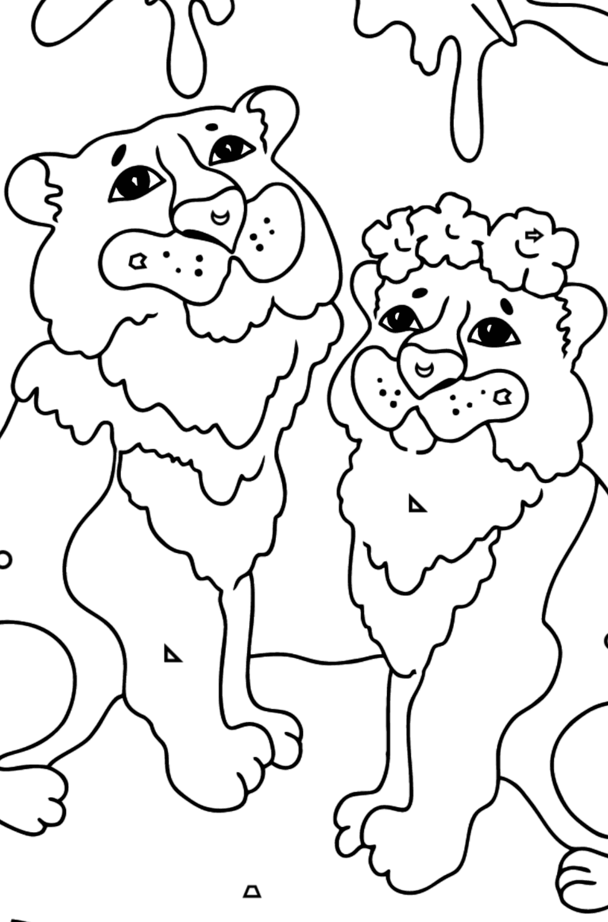 Coloring Page - A Tiger with a Tigress - Coloring by Geometric Shapes for Kids
