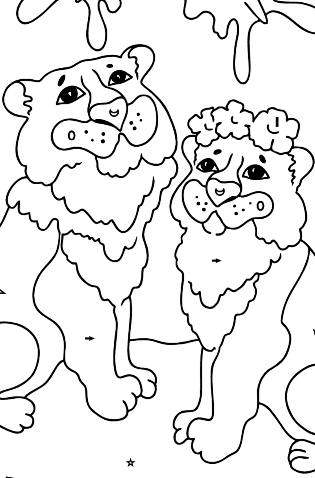 Coloring Page - A Tiger with a Tigress - Coloring by Symbols and Geometric Shapes for Kids