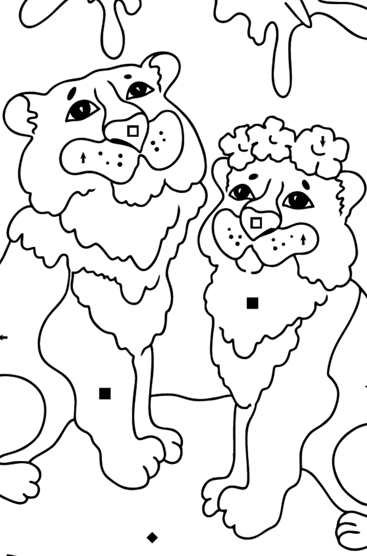 Coloring Page - A Tiger with a Tigress - Coloring by Symbols for Kids