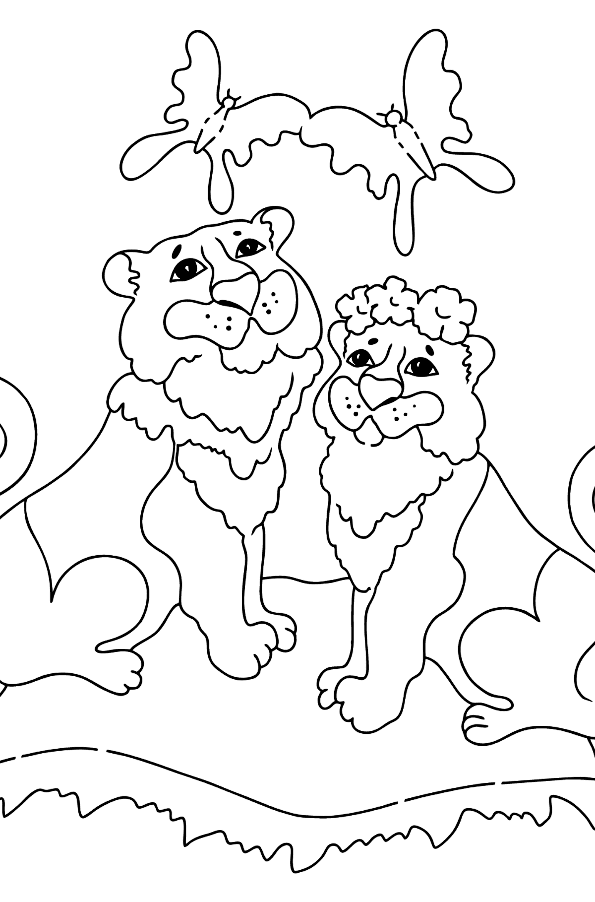 Coloring Page - A Tiger with a Tigress - Coloring Pages for Kids