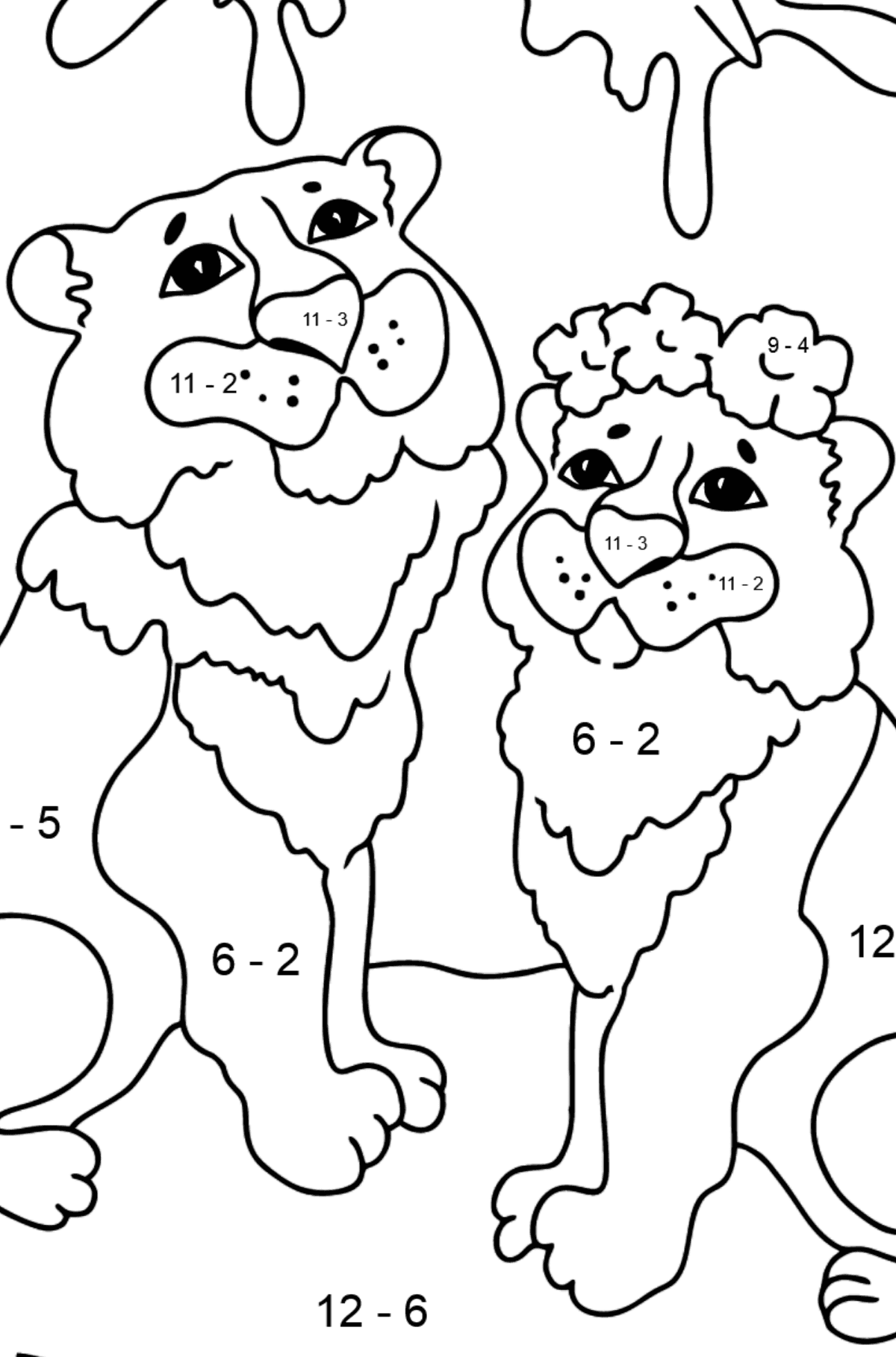 Coloring Page - A Tiger with a Tigress - Math Coloring - Subtraction for Kids