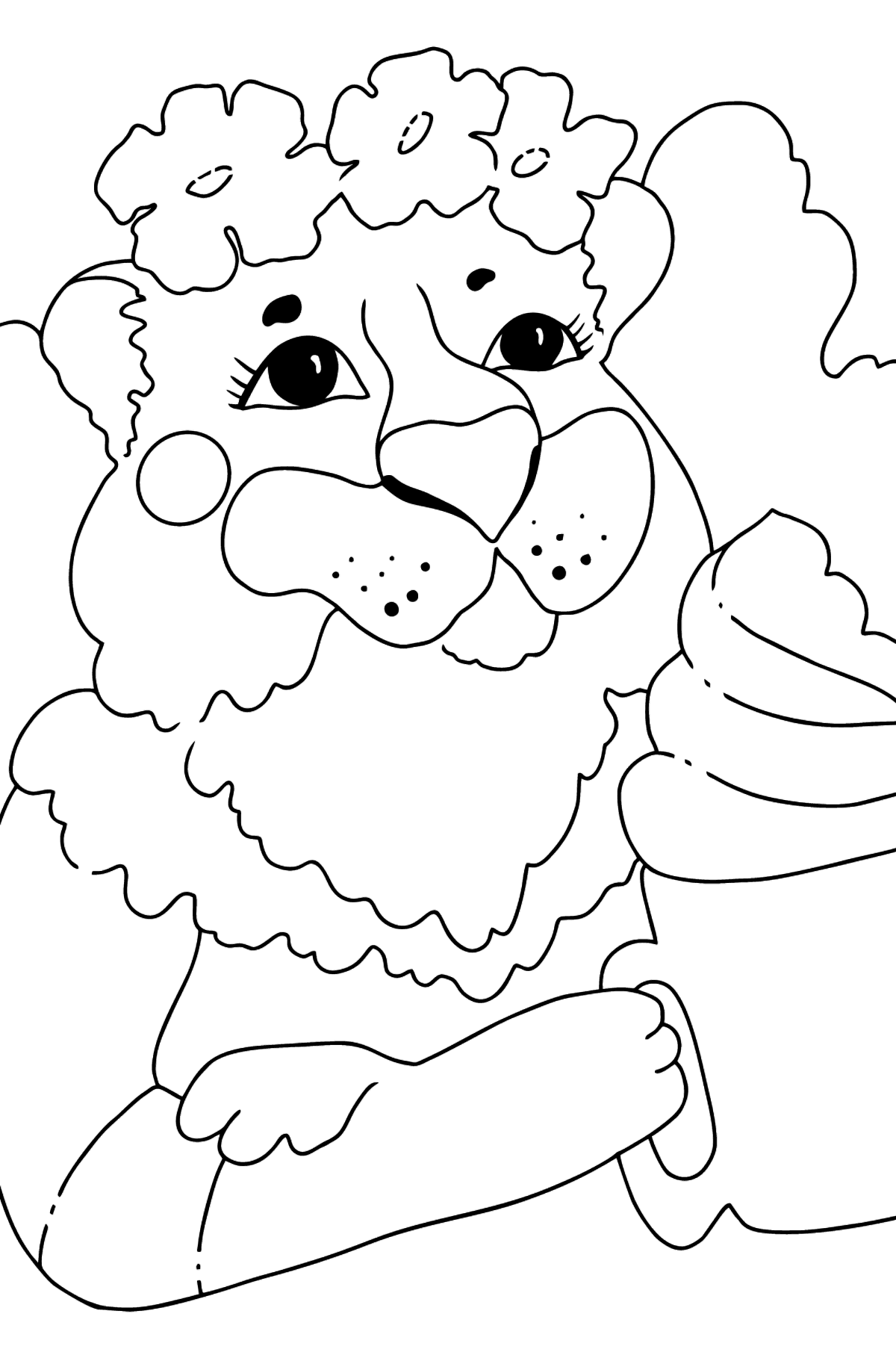 Coloring Page - A Tigress is Drinking Hot Chocolate - Coloring Pages for Kids