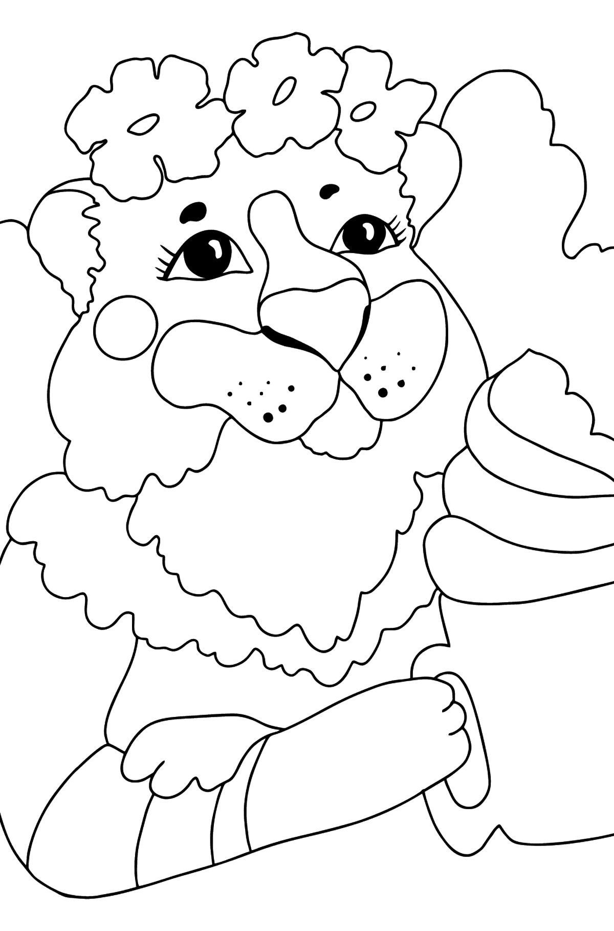 Coloring Page - A Tigress Loves Hot Chocolate - Coloring Pages for Kids