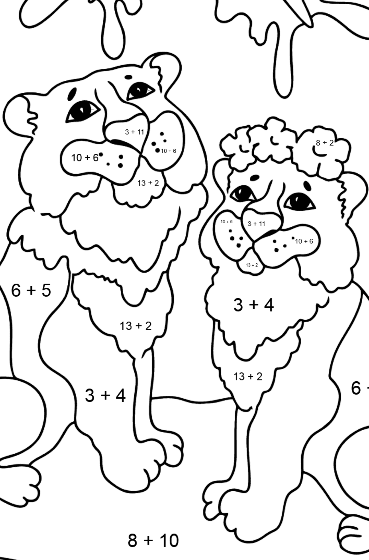 Coloring Page - Tigers with Butterflies - Math Coloring - Addition for Kids