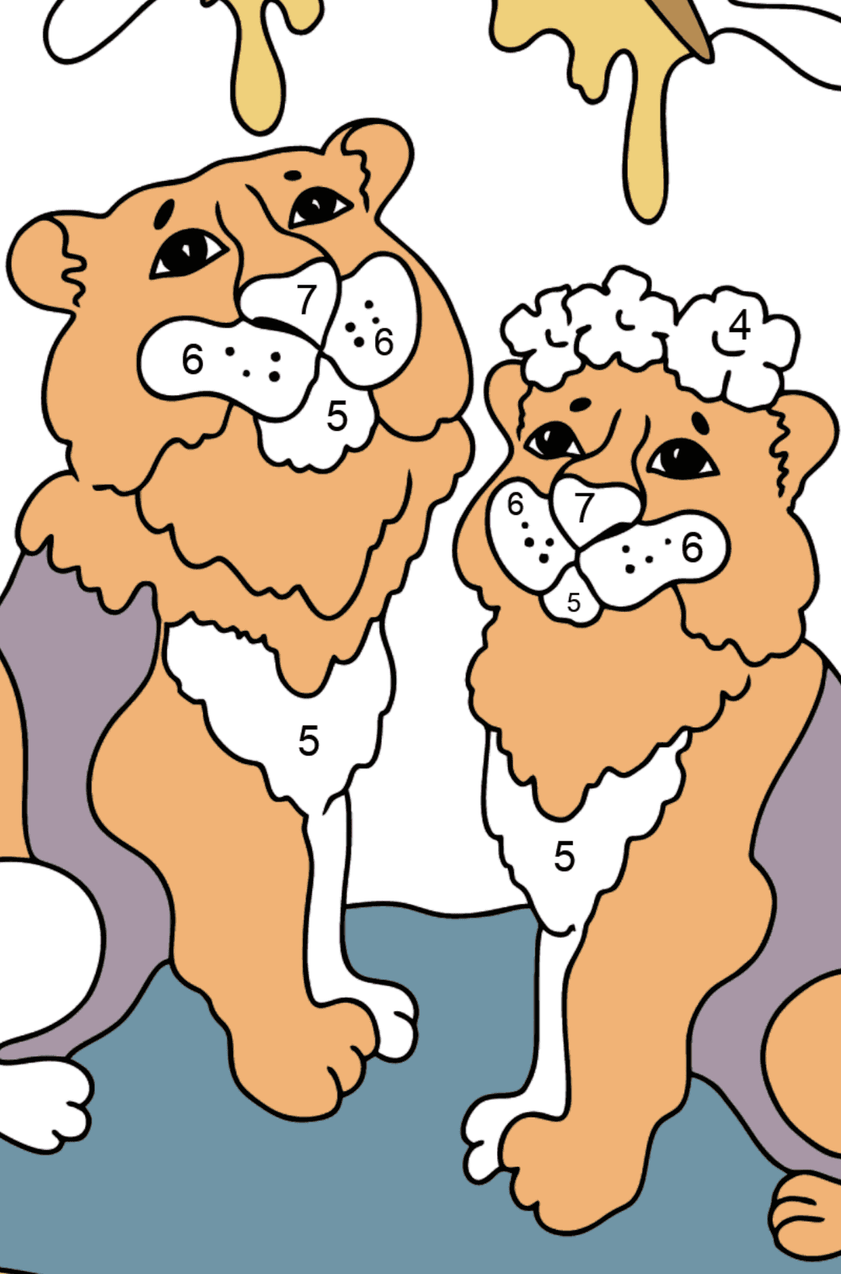 Coloring Page - Tigers with Butterflies - Coloring by Numbers for Kids