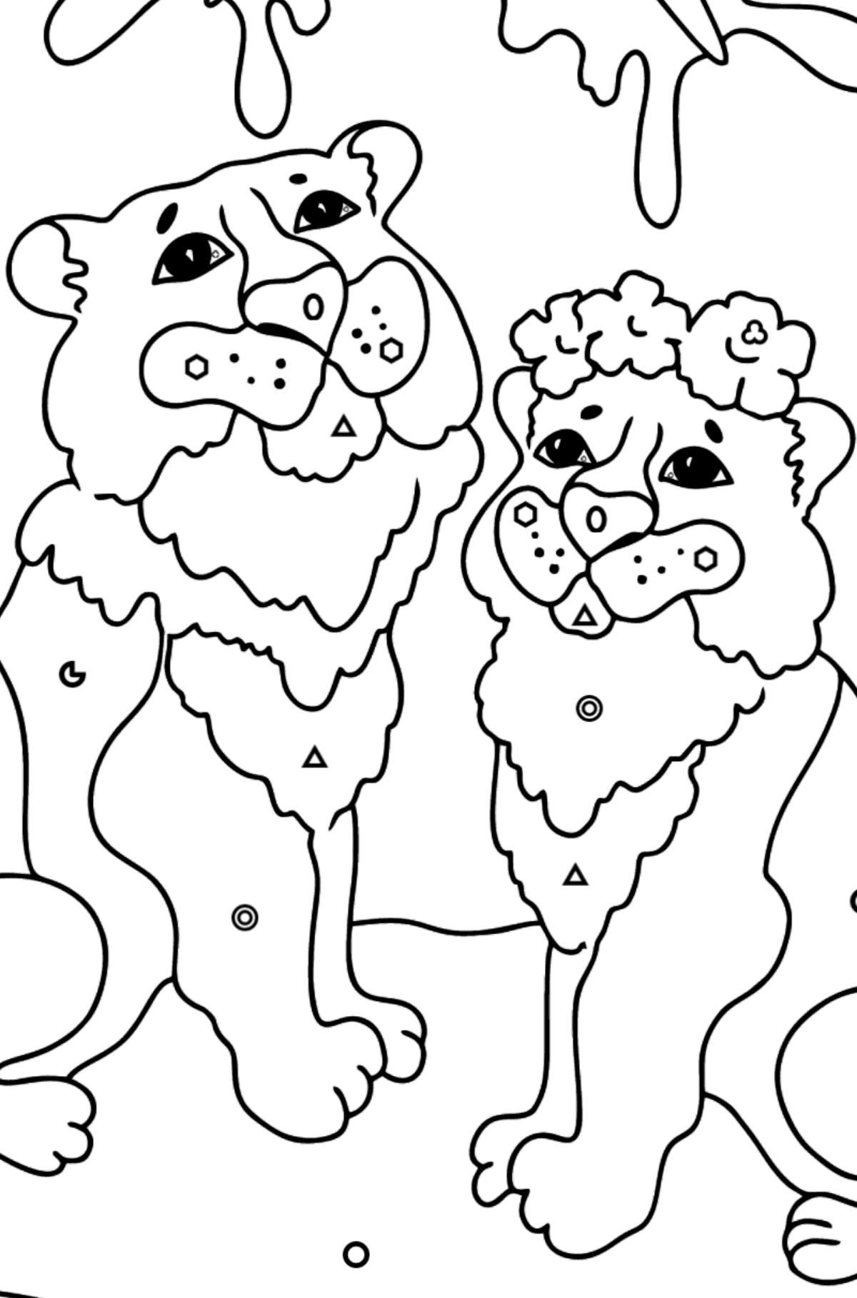 Coloring Page - Tigers with Butterflies - Coloring by Geometric Shapes for Kids