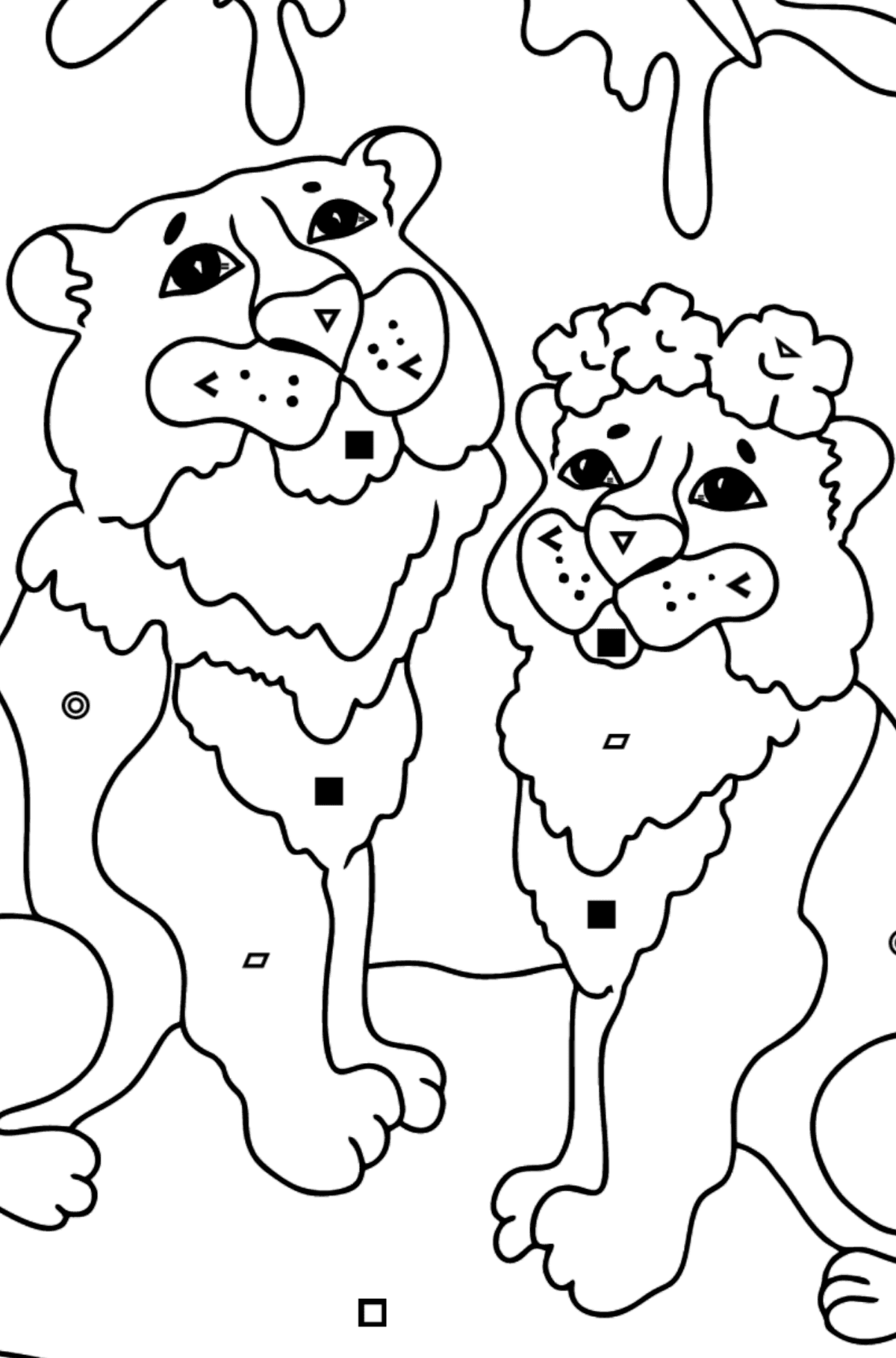 Coloring Page - Tigers with Butterflies - Coloring by Symbols and Geometric Shapes for Kids