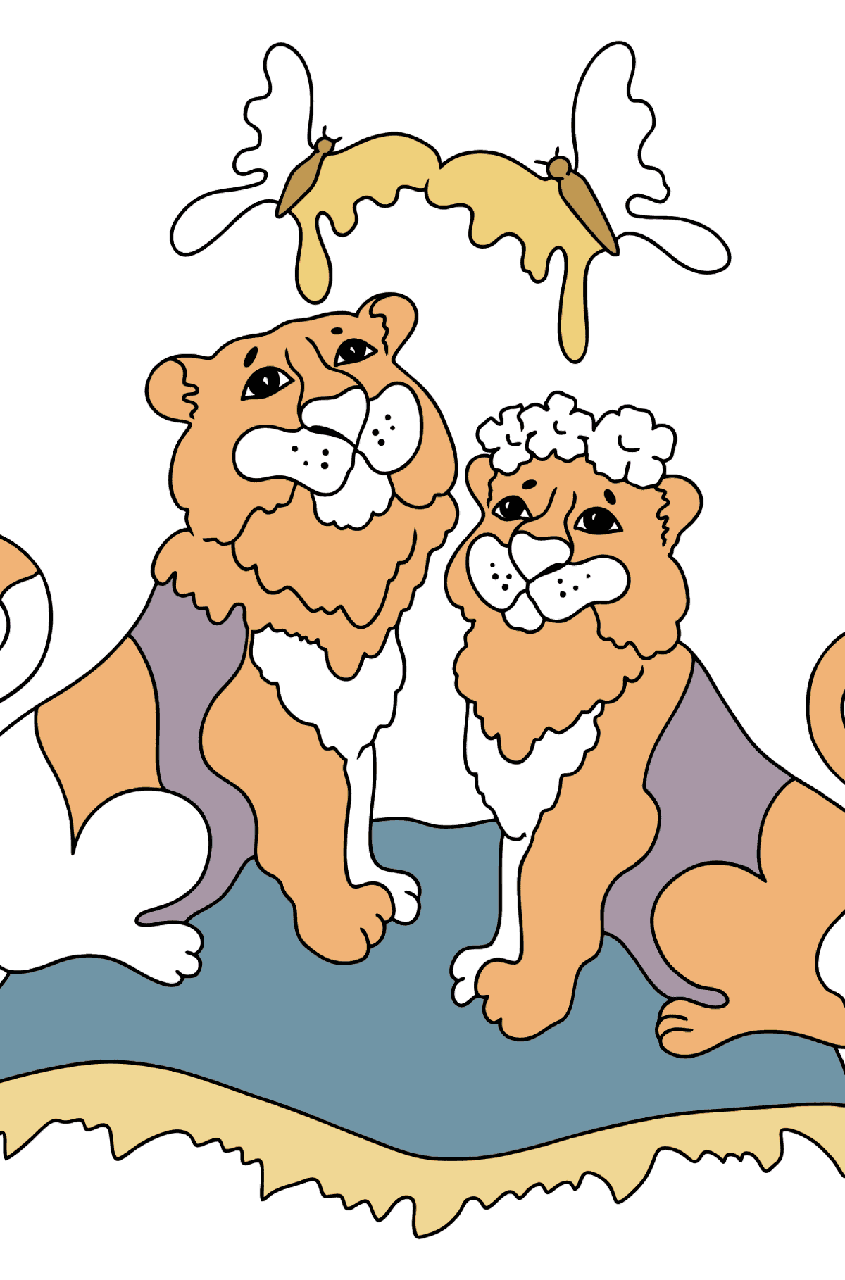 Coloring Page - Tigers with Butterflies - Coloring Pages for Kids