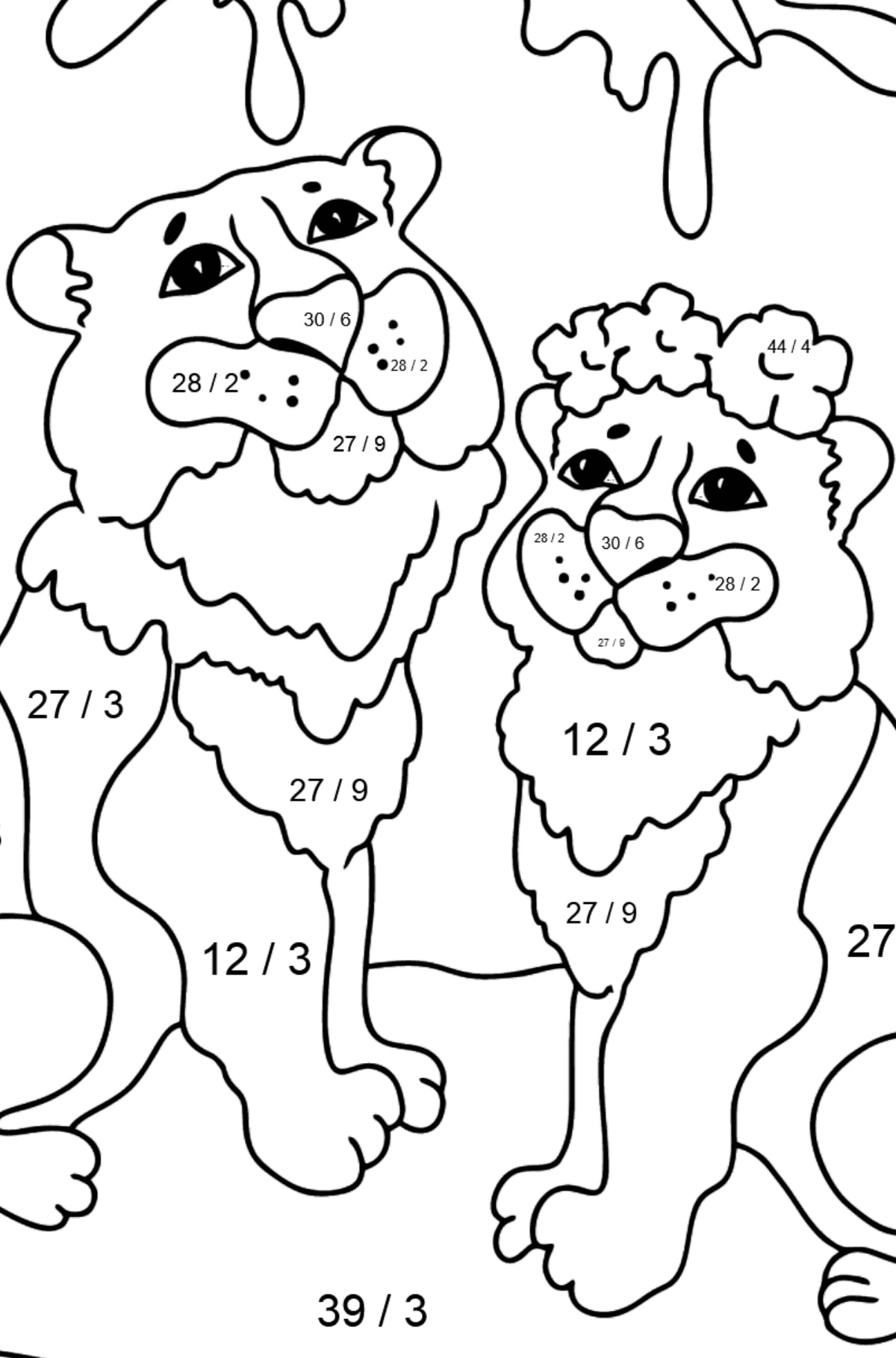 Coloring Page - Tigers with Butterflies - Math Coloring - Division for Kids