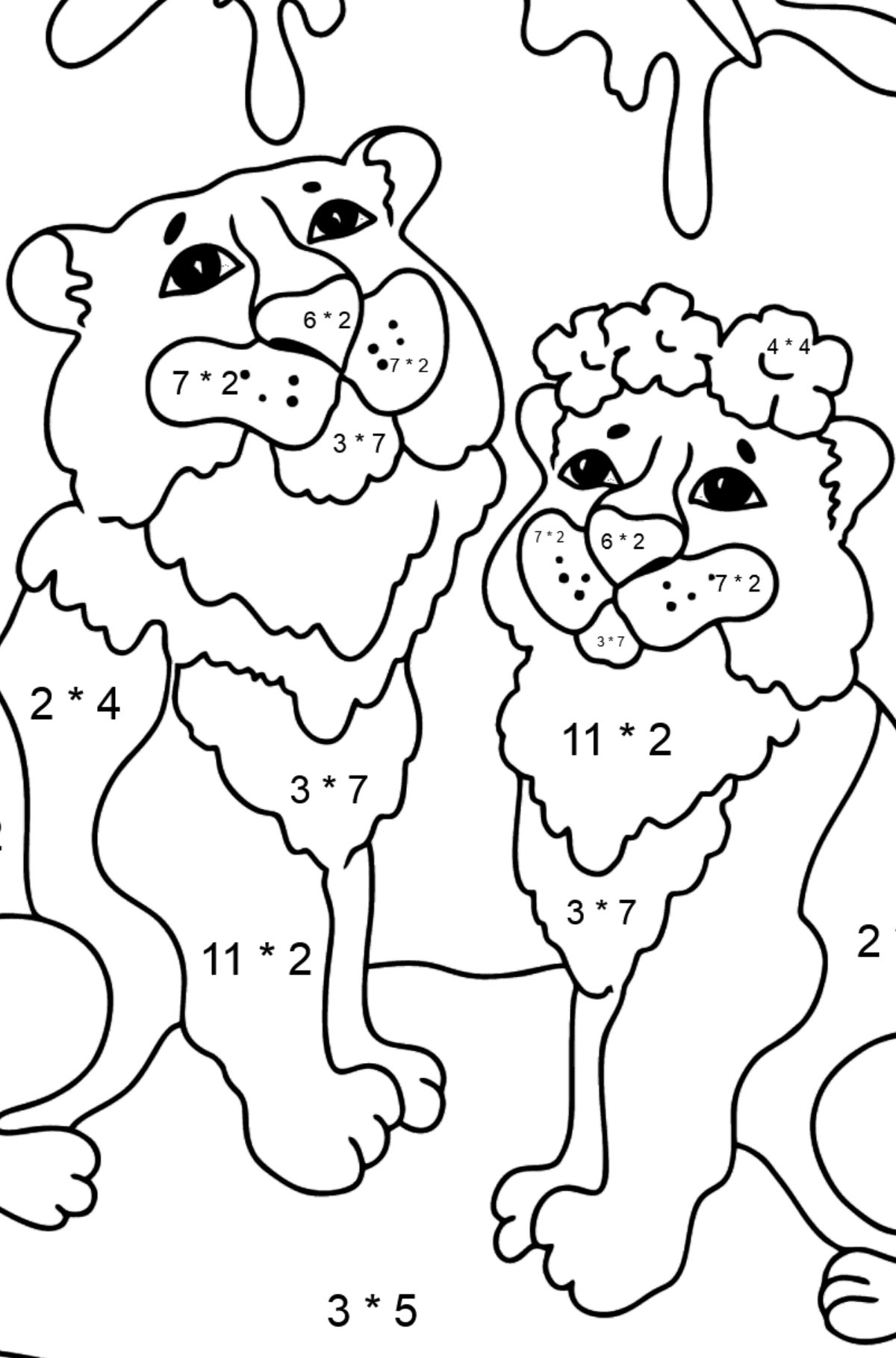 Coloring Page - Tigers with Butterflies - Math Coloring - Multiplication for Kids