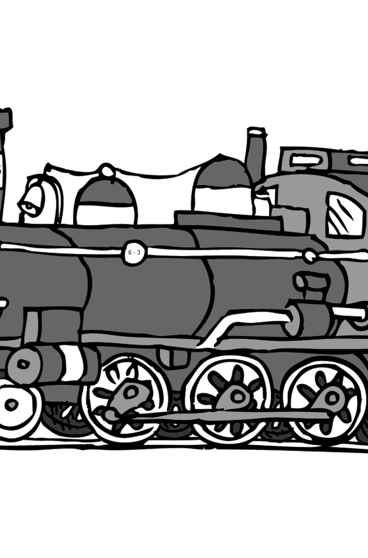 Coloring Page - A Locomotive - Math Coloring - Subtraction for Kids