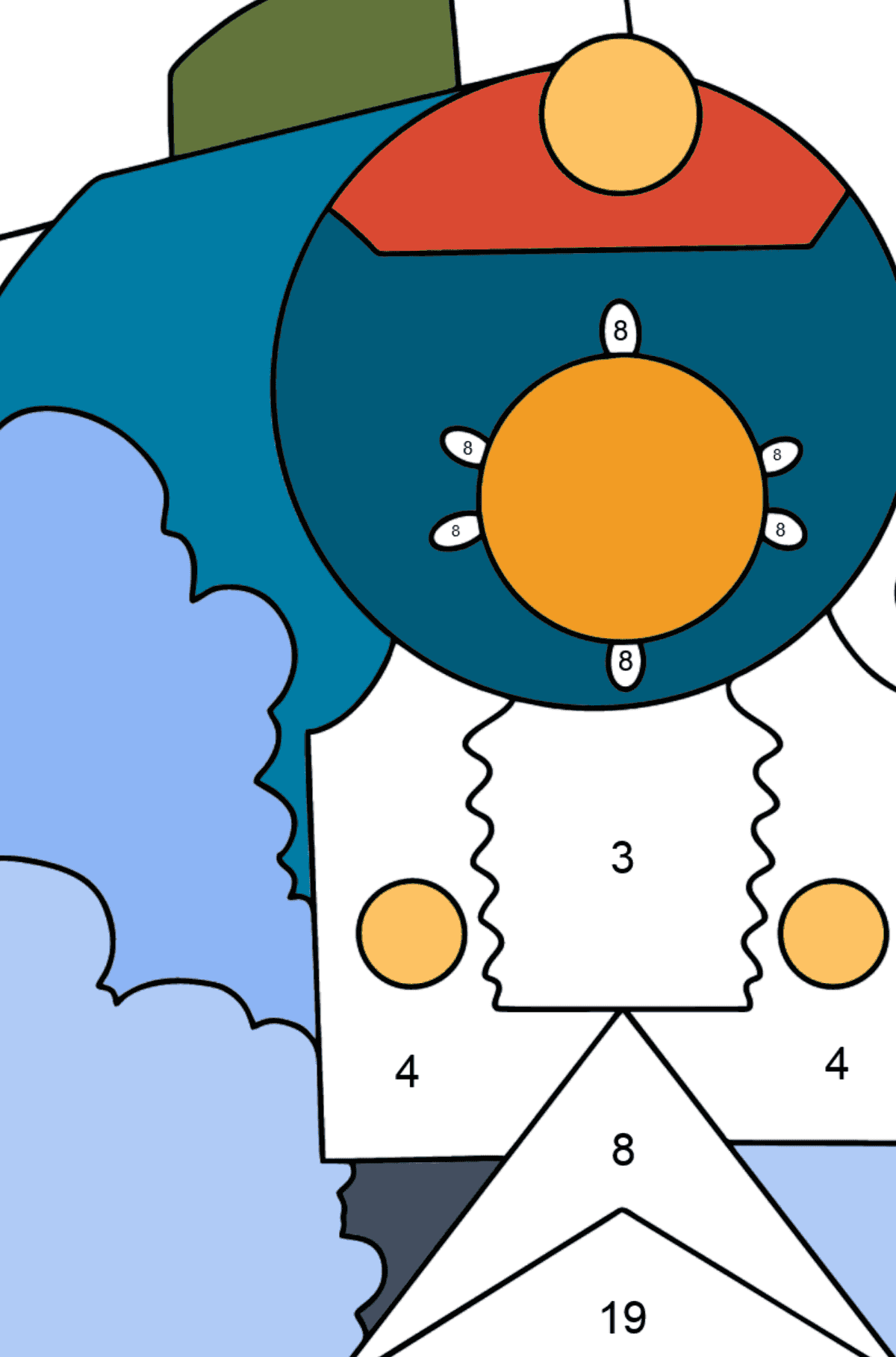Coloring Page - A Locomotive with Coaches - Coloring by Numbers for Kids