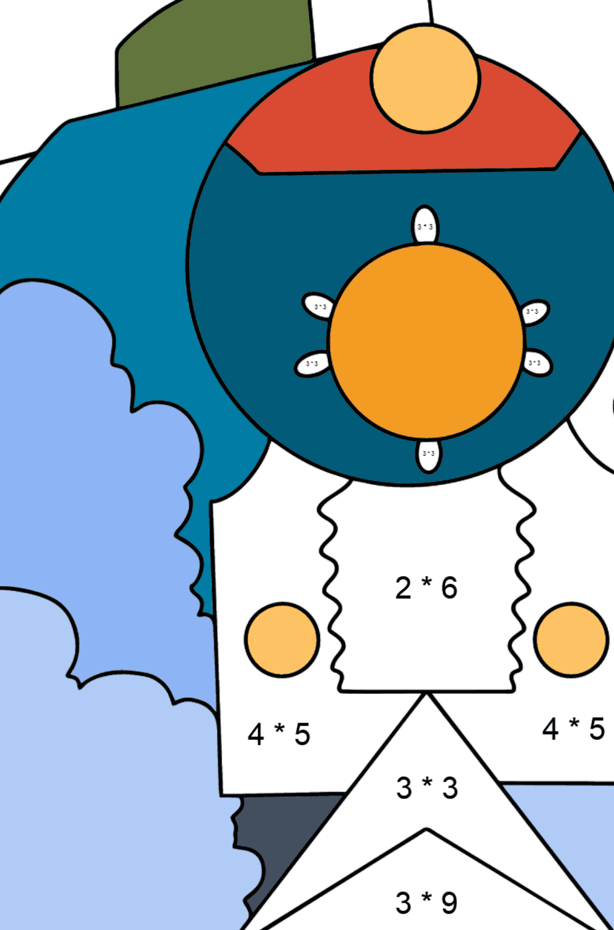 Coloring Page - A Locomotive with Coaches - Math Coloring - Multiplication for Kids