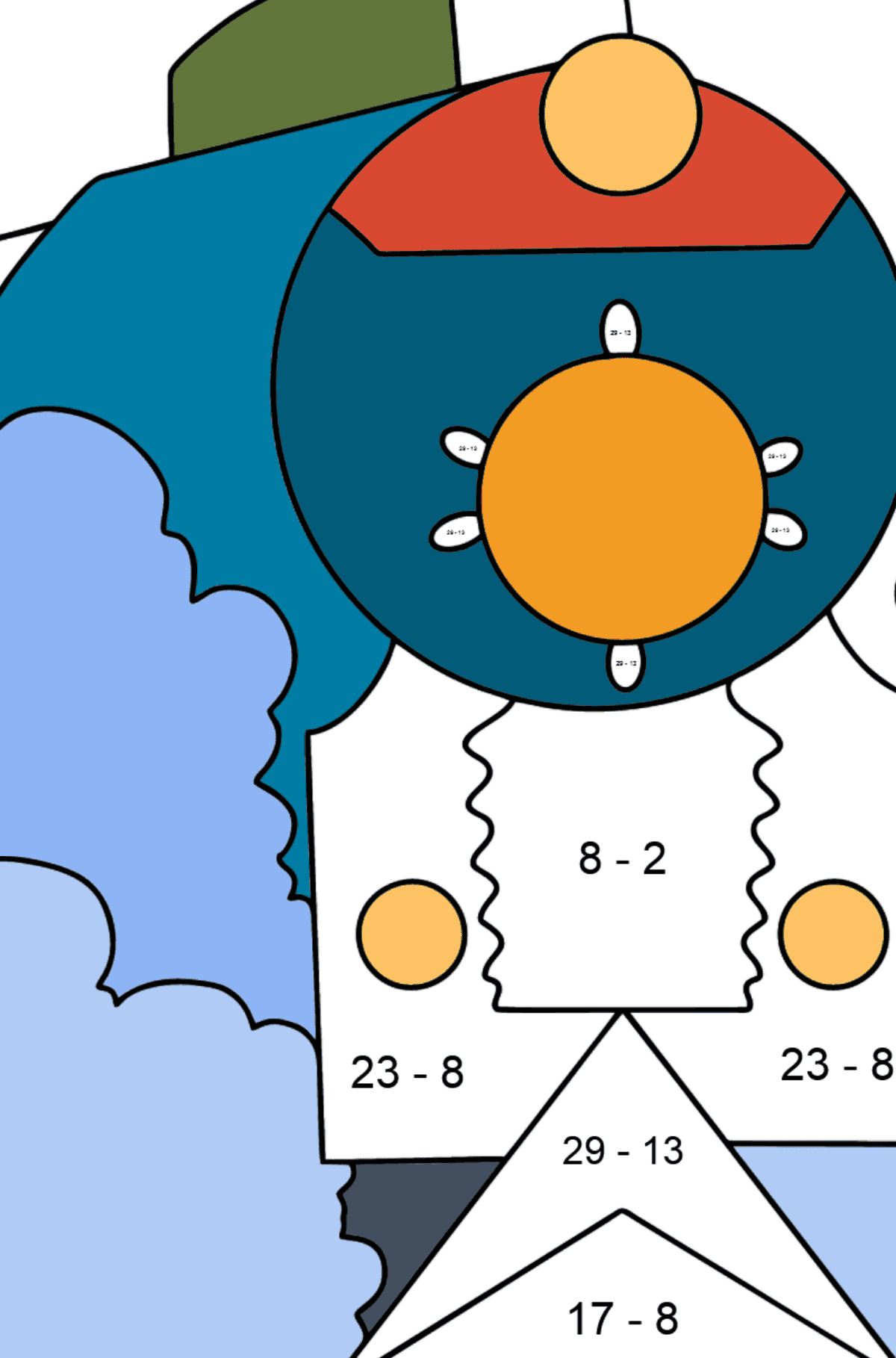 Coloring Page - A Locomotive with Coaches - Math Coloring - Subtraction for Kids