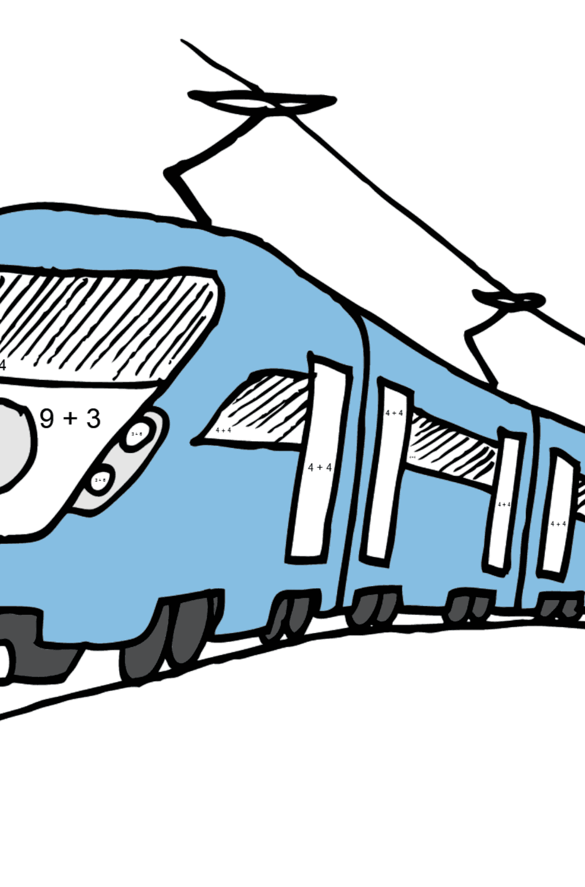 Coloring Page - A Passenger Train - Math Coloring - Addition for Kids