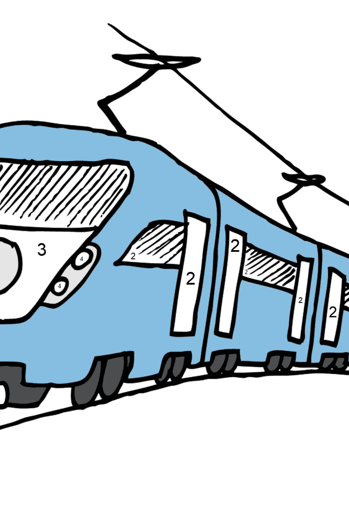 Coloring Page - A Passenger Train - Coloring by Numbers for Kids