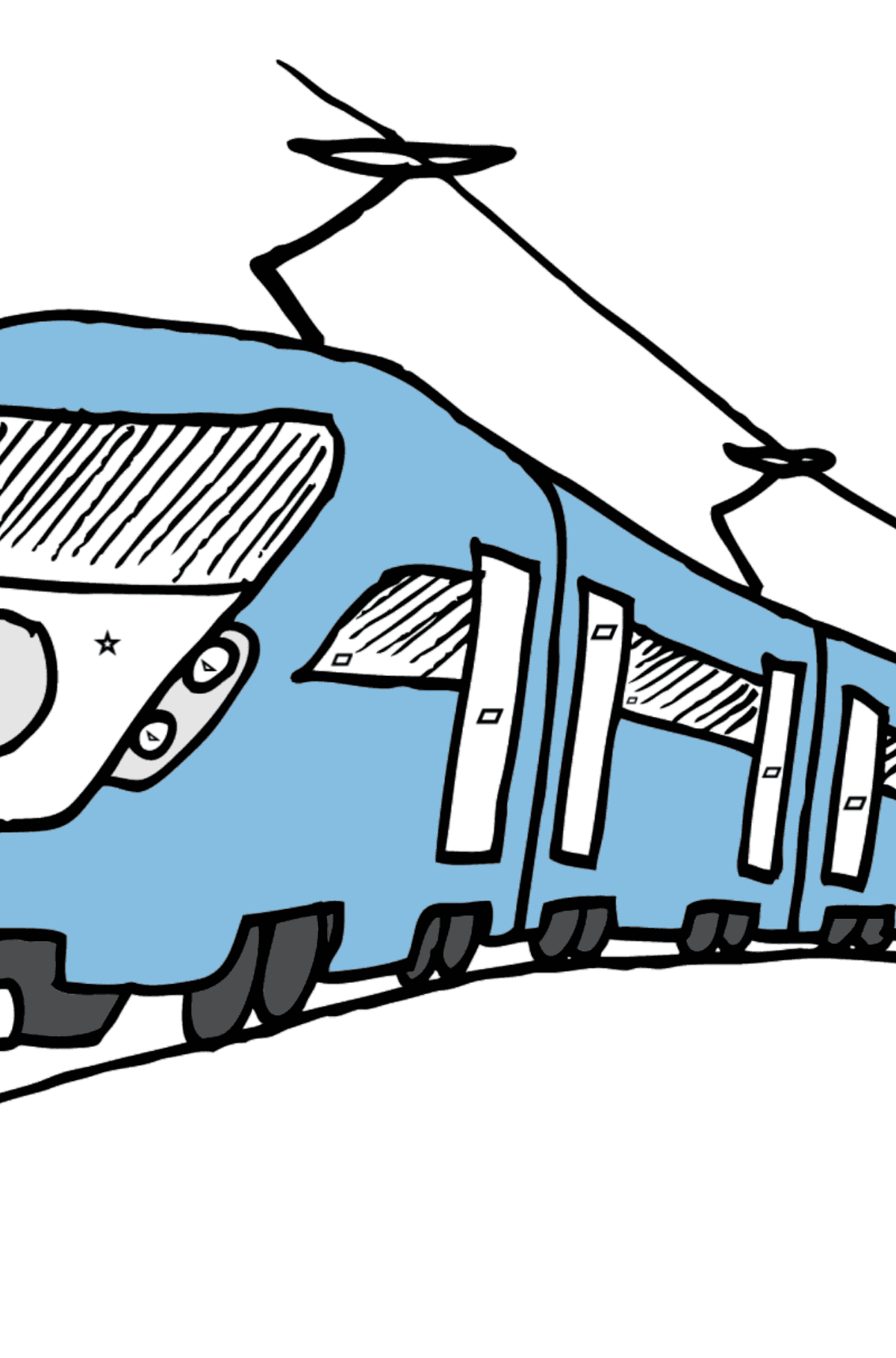 Coloring Page - A Passenger Train - Coloring by Geometric Shapes for Kids