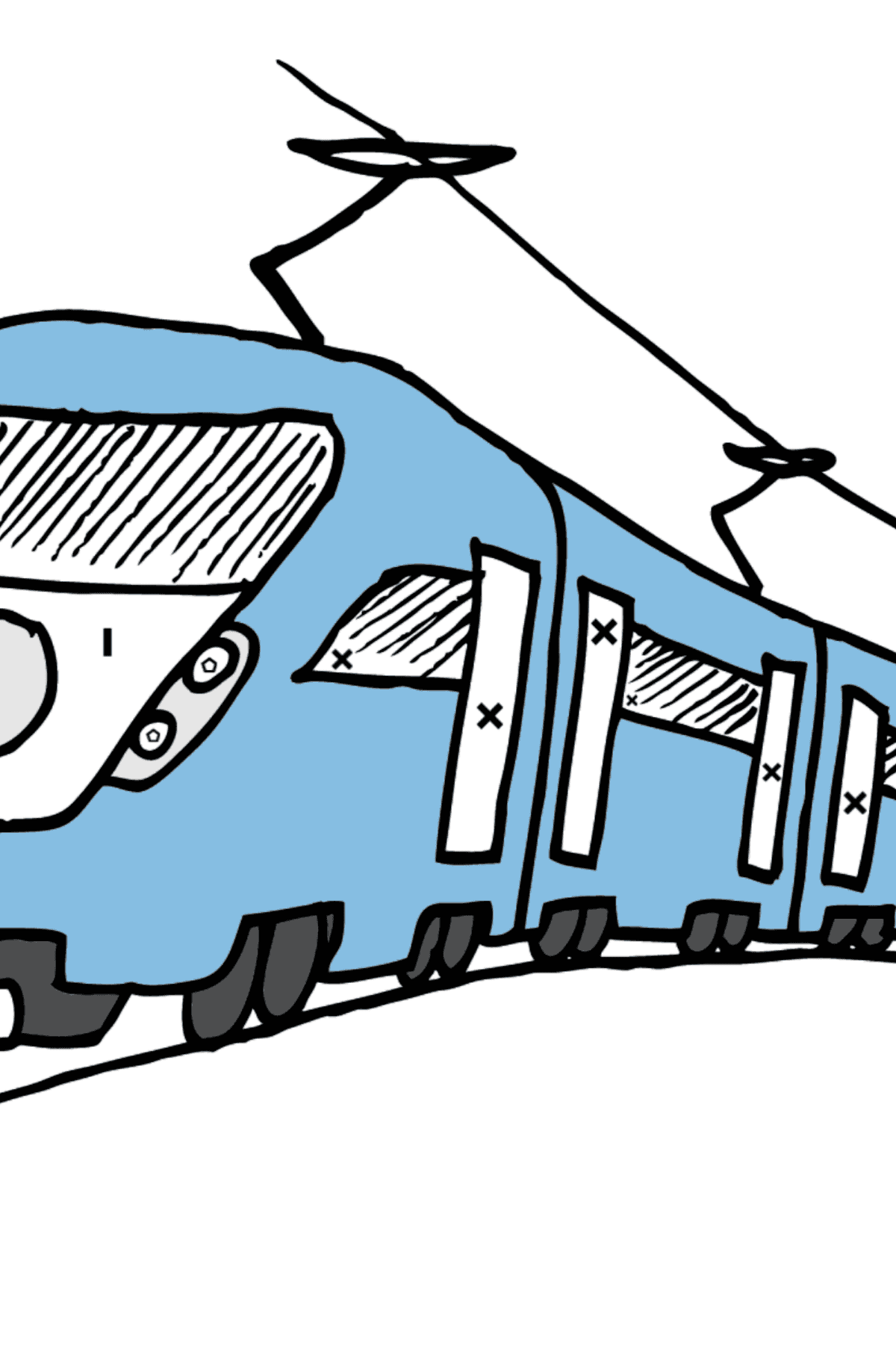 Coloring Page - A Passenger Train - Coloring by Symbols and Geometric Shapes for Kids
