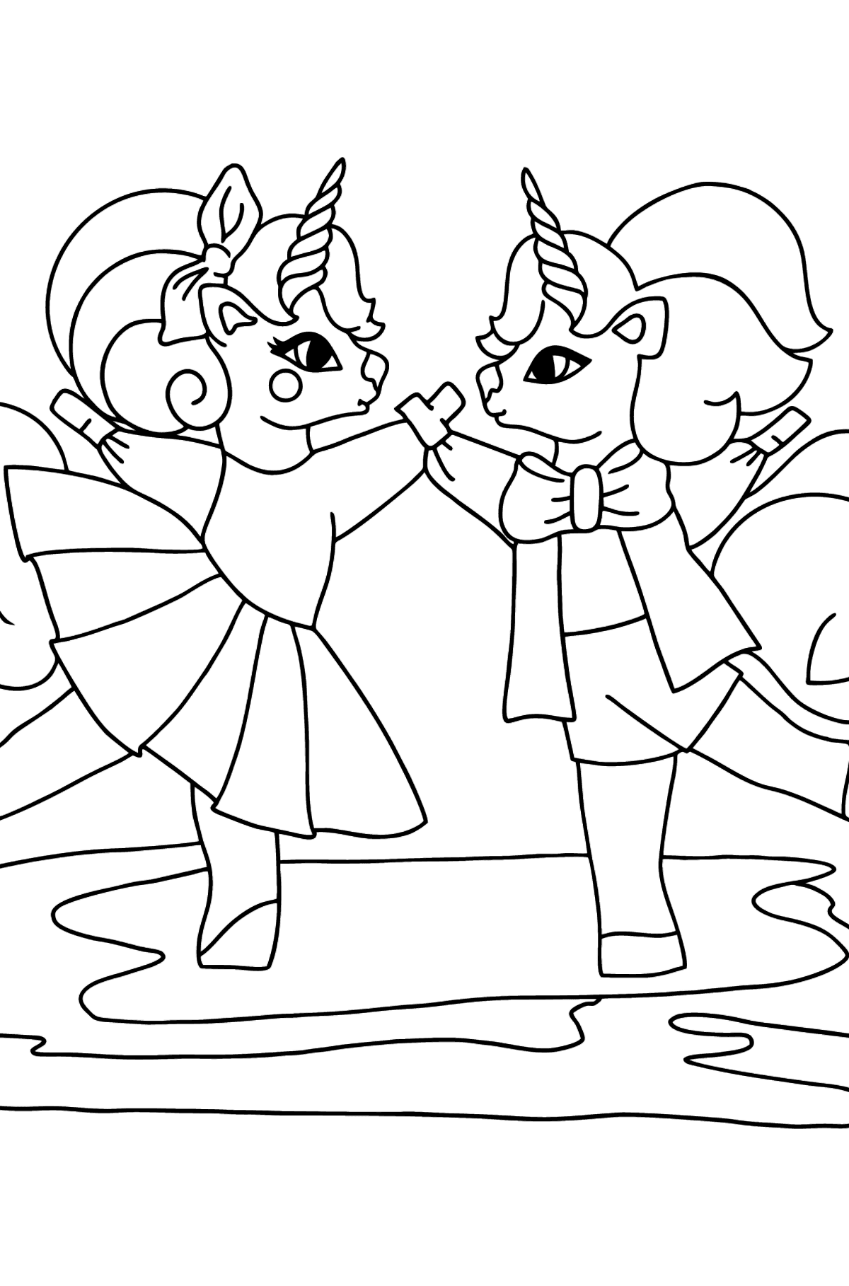 Coloring Page - A Dancing Unicorn - Coloring Pages for Kids