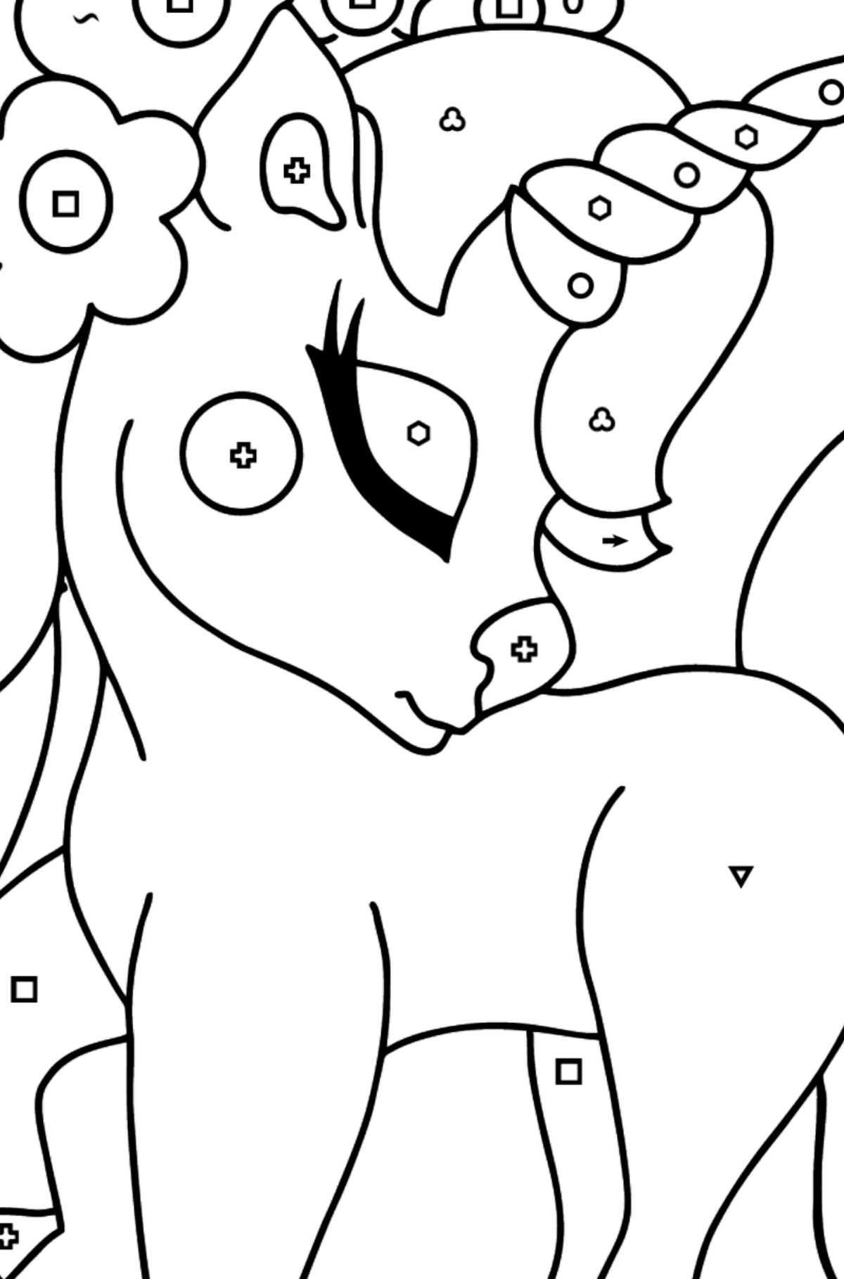 Coloring Page - A Dreamy Unicorn - Coloring by Symbols and Geometric Shapes for Kids