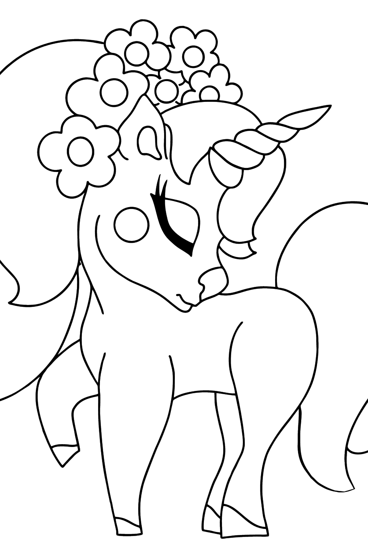Coloring Page - A Dreamy Unicorn - Coloring Pages for Kids