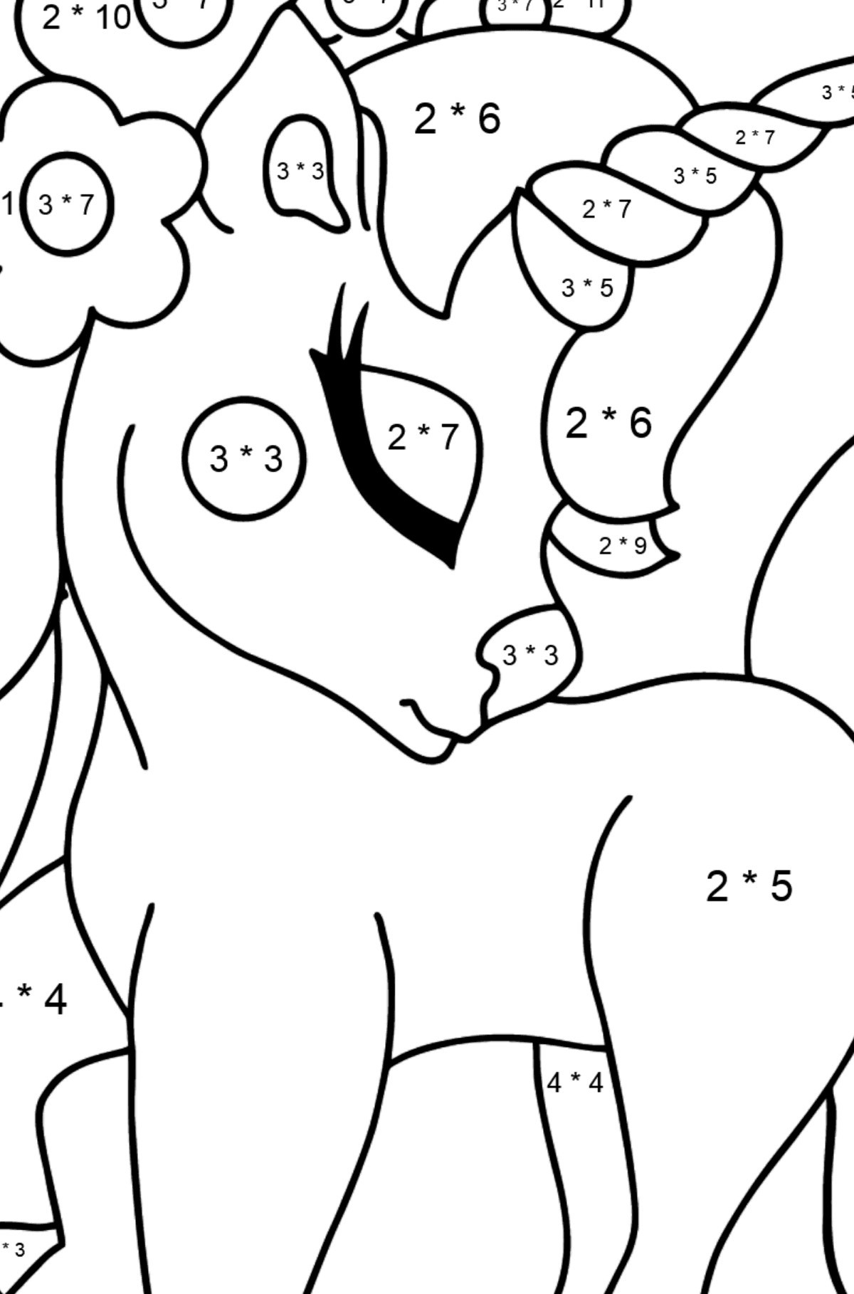 Coloring Page - A Dreamy Unicorn - Math Coloring - Multiplication for Kids