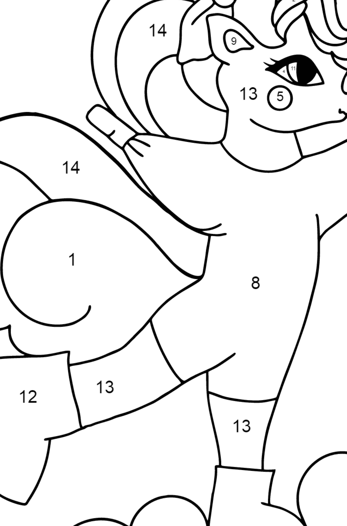 Coloring Page - A Unicorn on Skates for Kids  - Color by Number