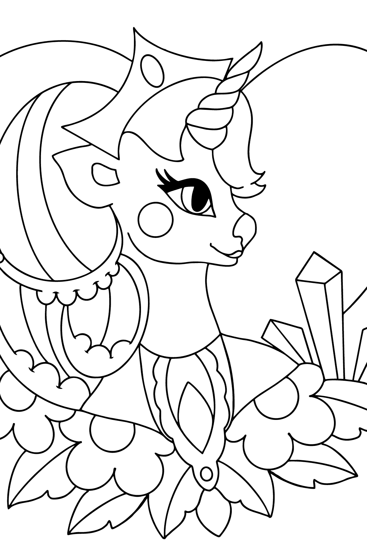 Coloring Page - A Unicorn Queen - Coloring Pages for Kids