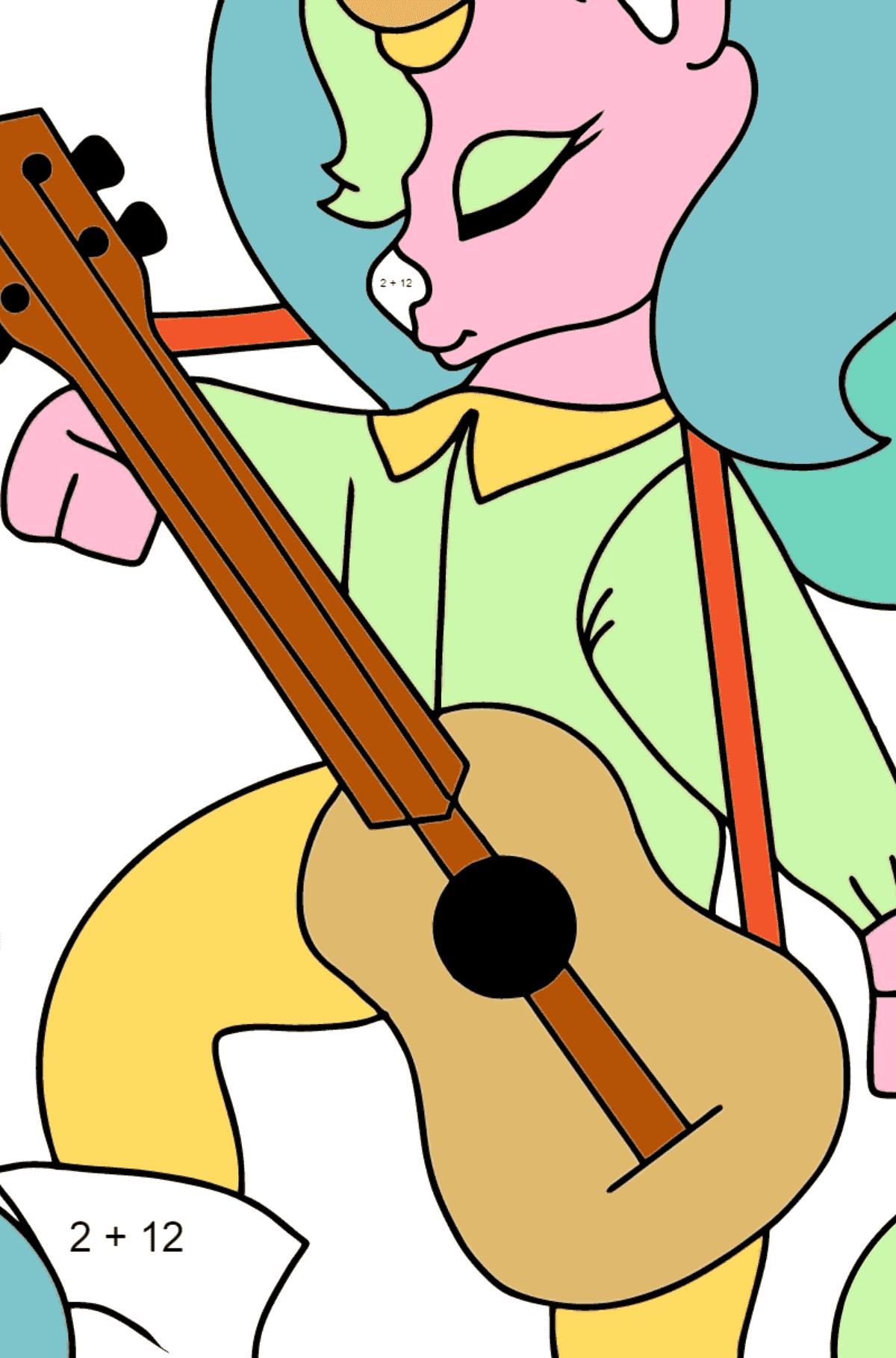 Ausmalseite - Ein Einhorn mit einer Gitarre - Mathe Ausmalbilder - Addition für Kinder