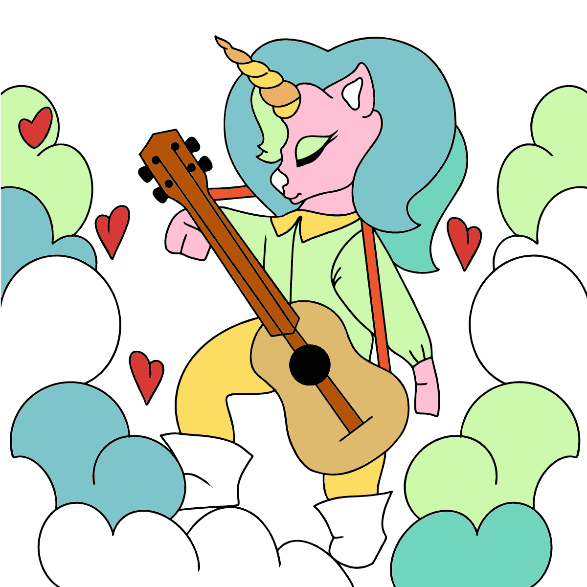 Coloring Page - A Unicorn with a Guitar
