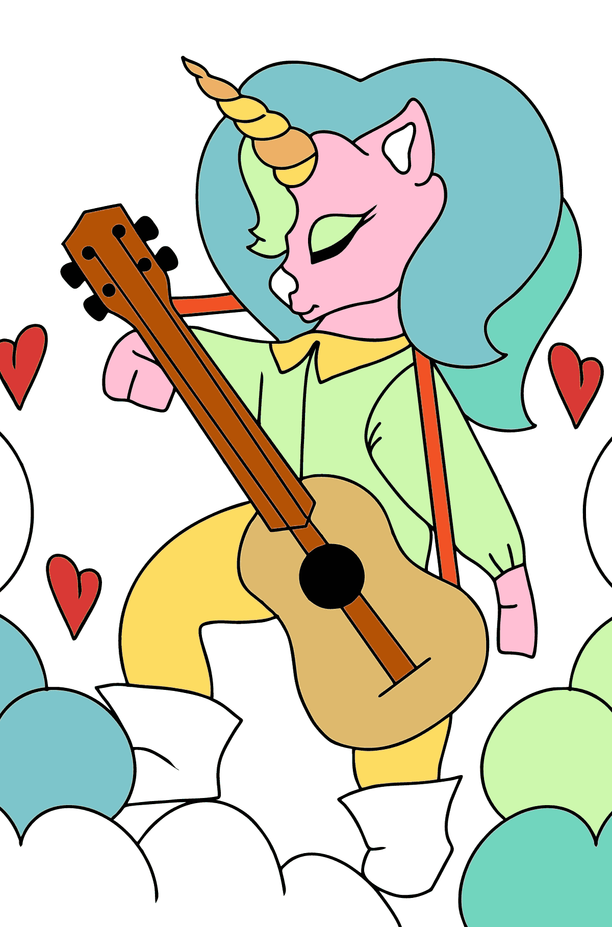 Coloring Page - A Unicorn with a Guitar - Coloring Pages for Kids