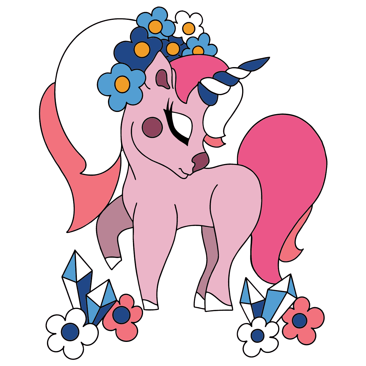 Complex Coloring Page - A Dreaming Unicorn