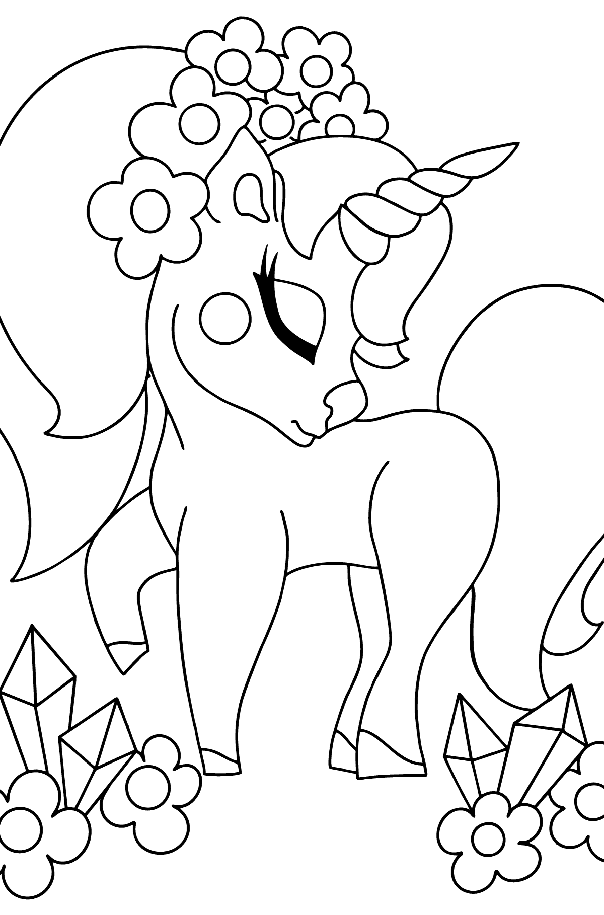 Complex Coloring Page - A Dreaming Unicorn for Kids