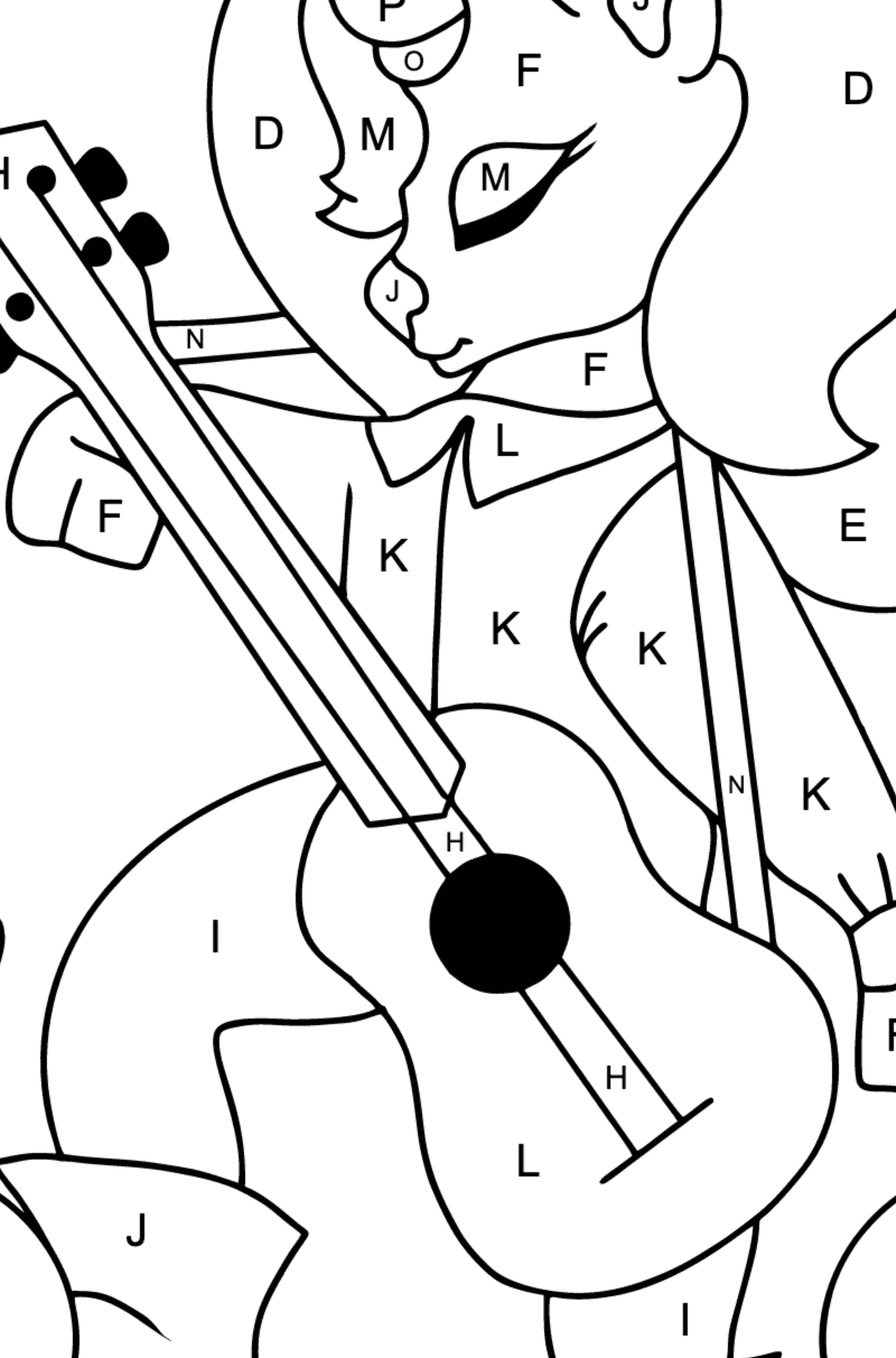 Complex Coloring Page - A Unicorn with a Guitar for Children  - Color by Letters