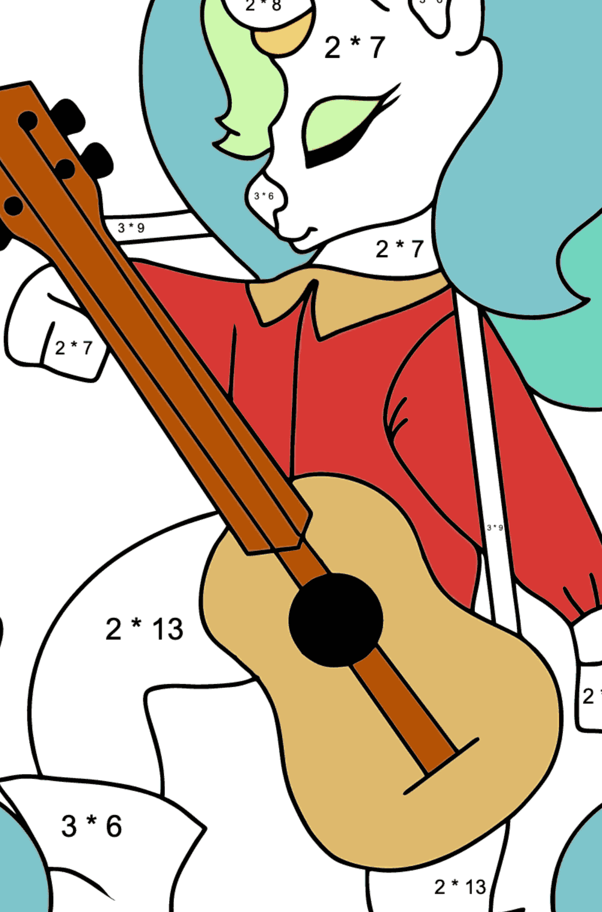 Complex Coloring Page - A Unicorn with a Guitar for Kids  - Color by Number Multiplication