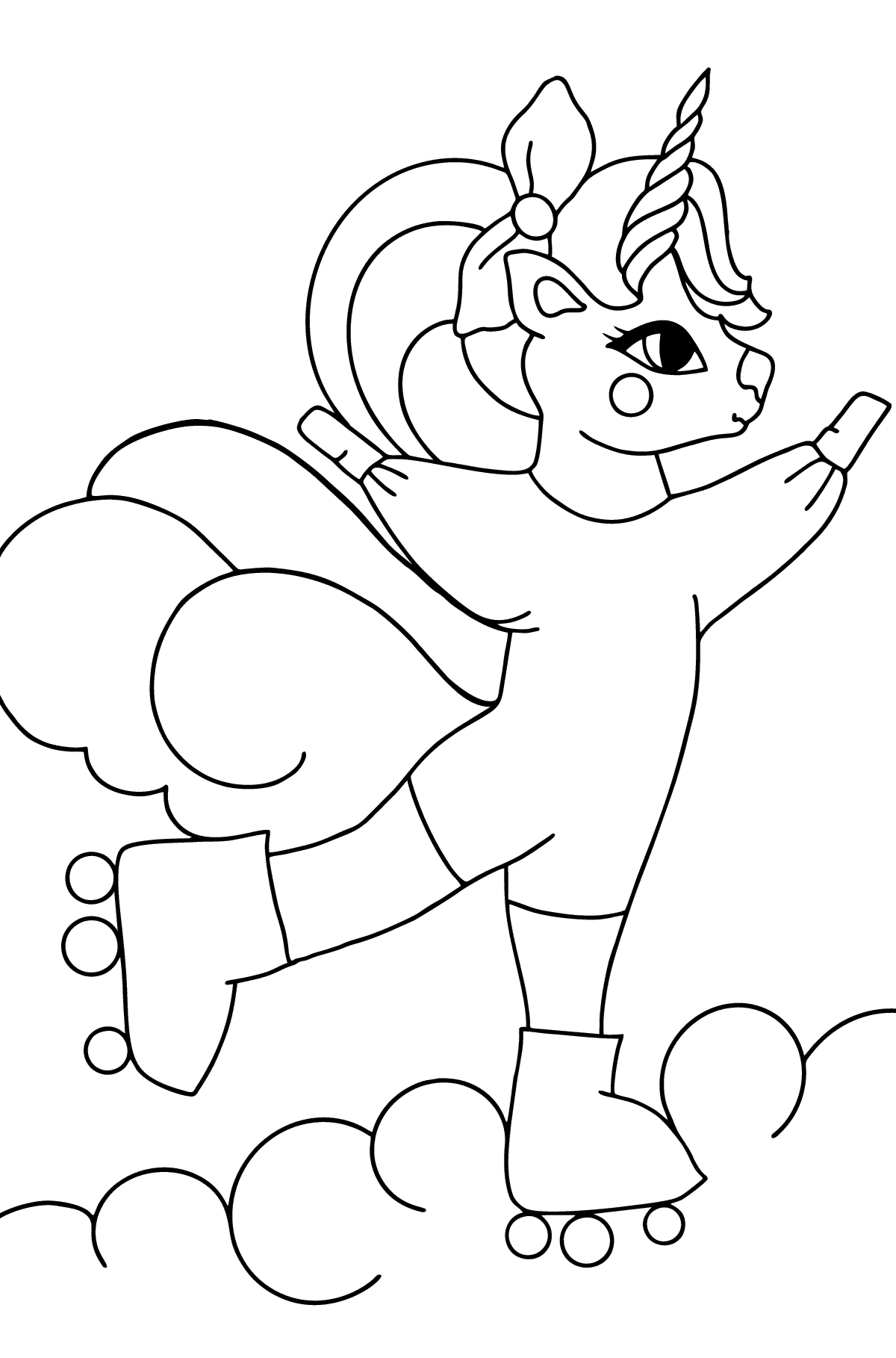 Simple Coloring Page - A Unicorn on Skates for Kids