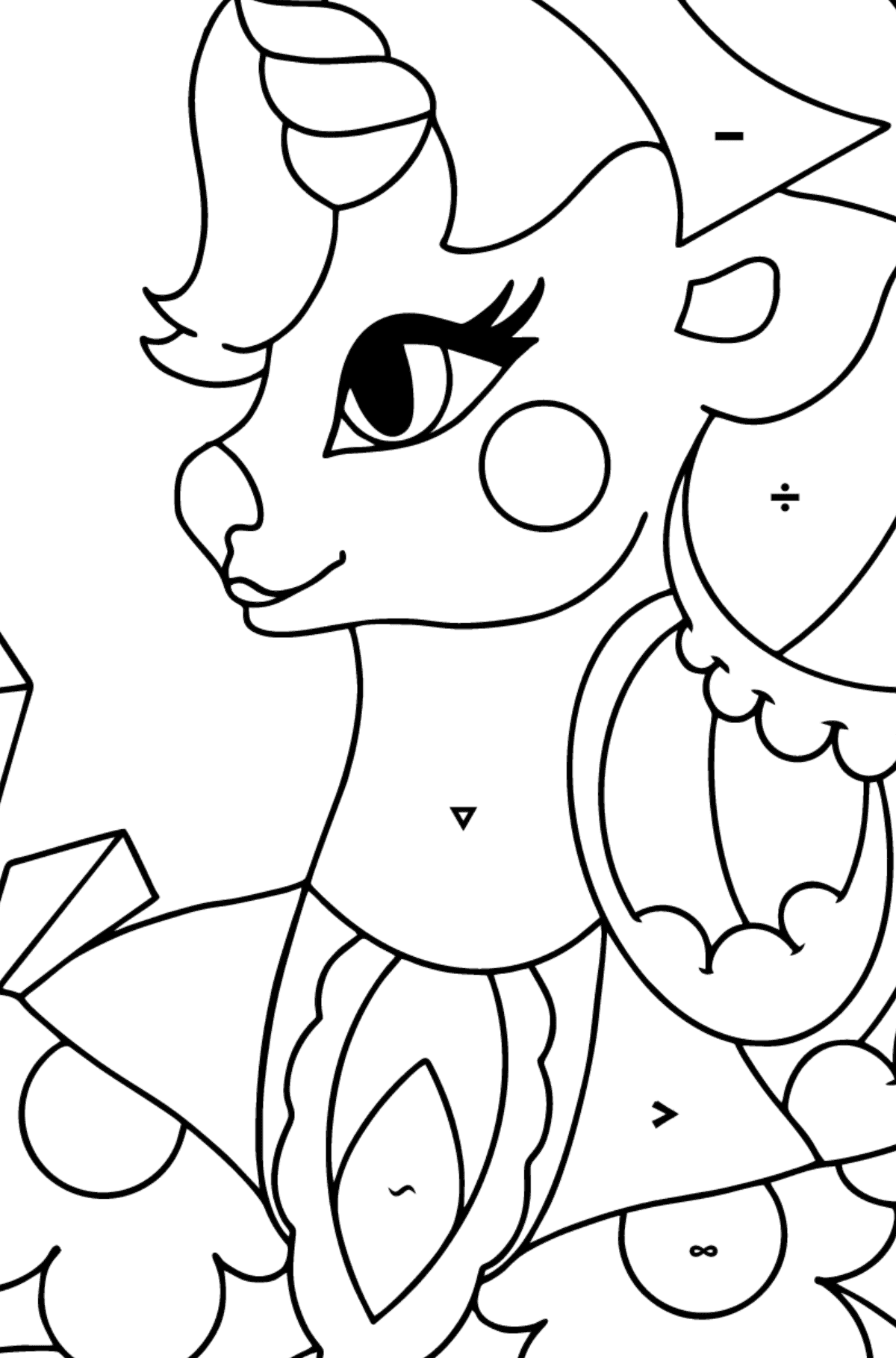 Simple Coloring Page - A Unicorn Queen for Children  - Color by Special Symbols