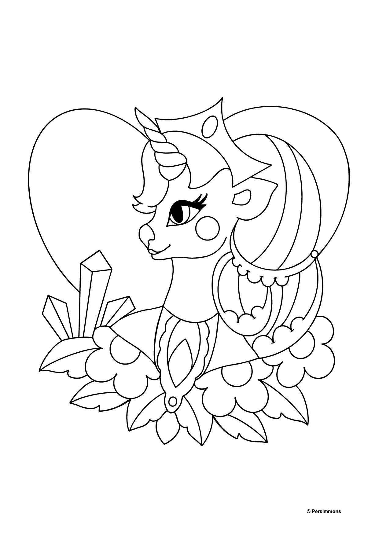 Simple Coloring Page - A Unicorn Queen for Kids