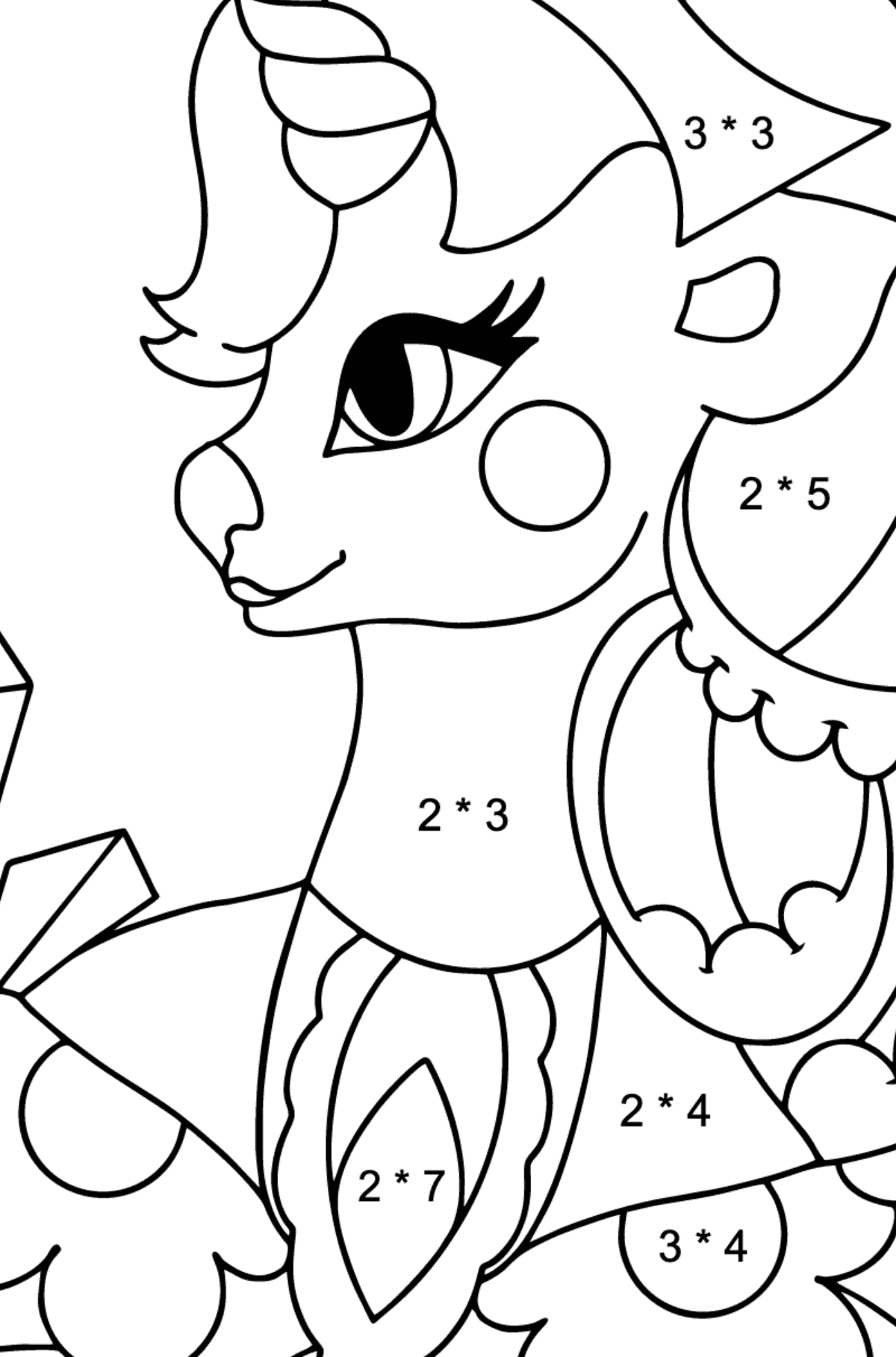 Simple Coloring Page - A Unicorn Queen for Children  - Color by Number Multiplication