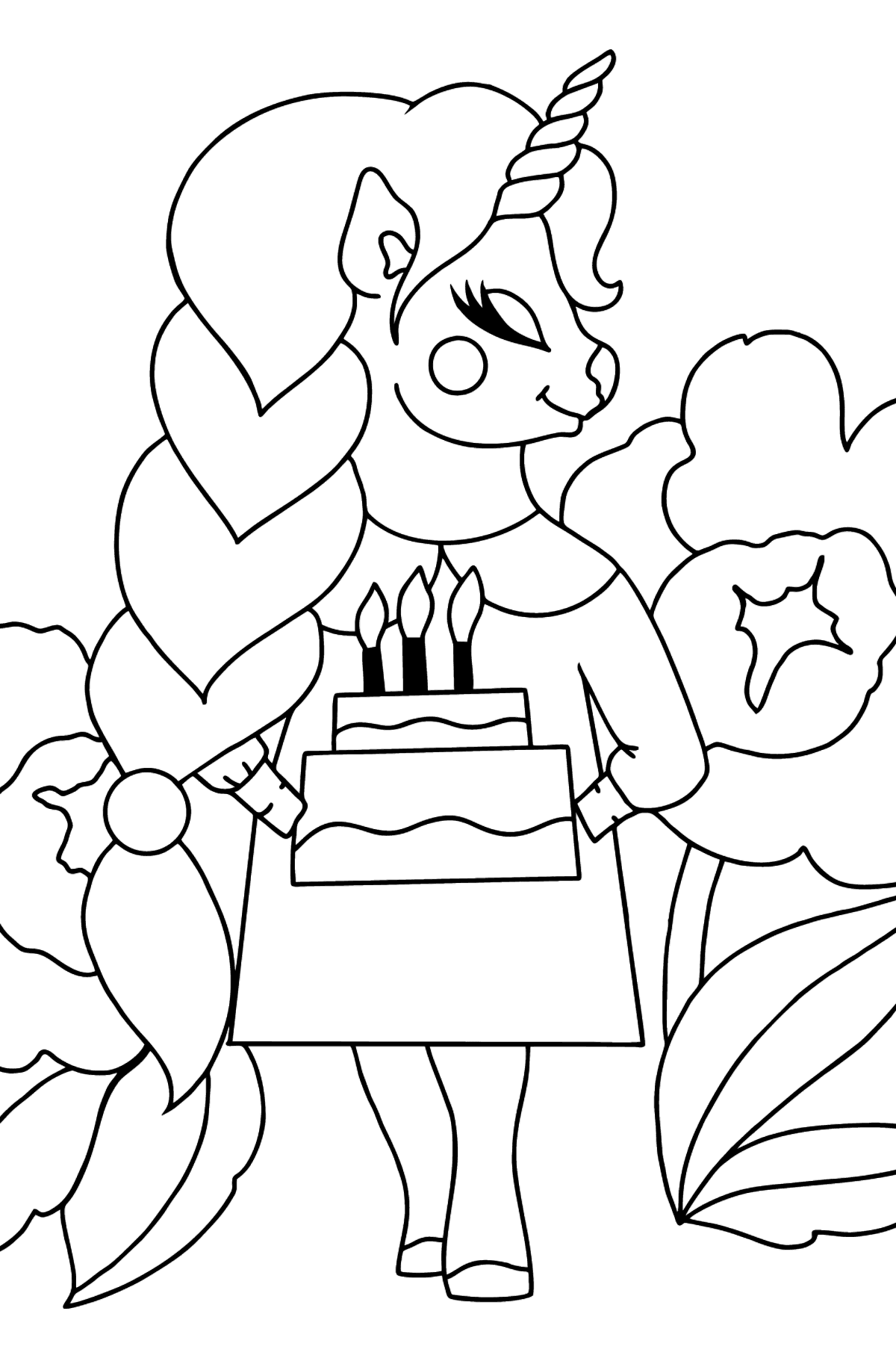 Simple Coloring Page - A Unicorn with a Cake - Coloring Pages for Kids