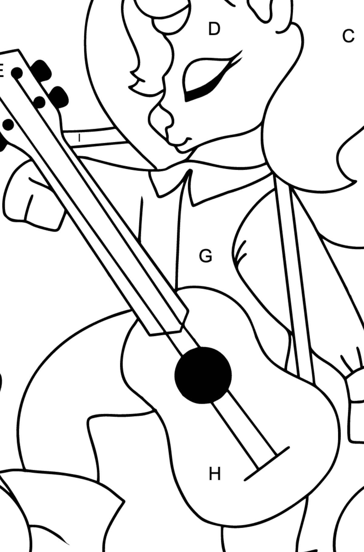 Simple Coloring Page - A Unicorn with a Guitar for Children  - Color by Letters