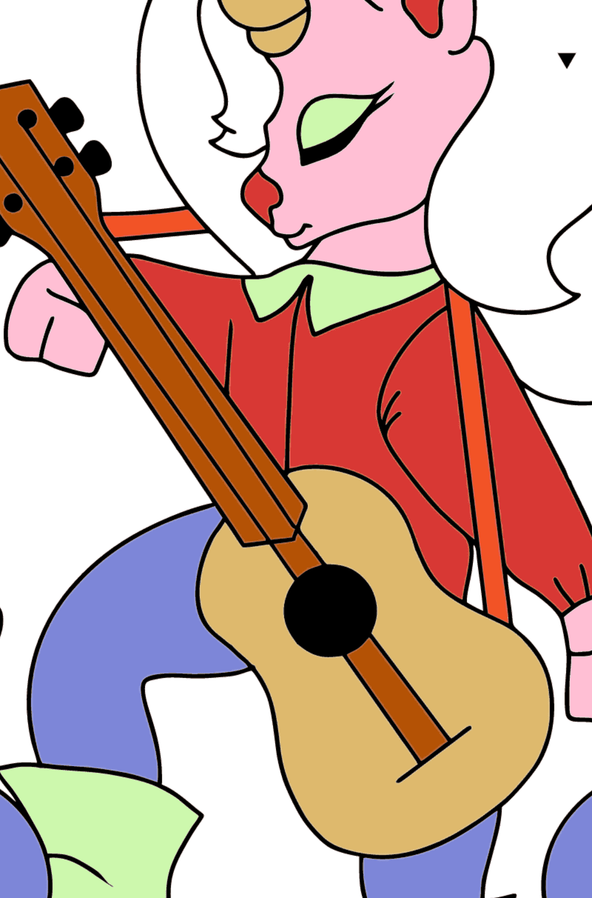 Simple Coloring Page - A Unicorn with a Guitar for Kids  - Color by Special Symbols