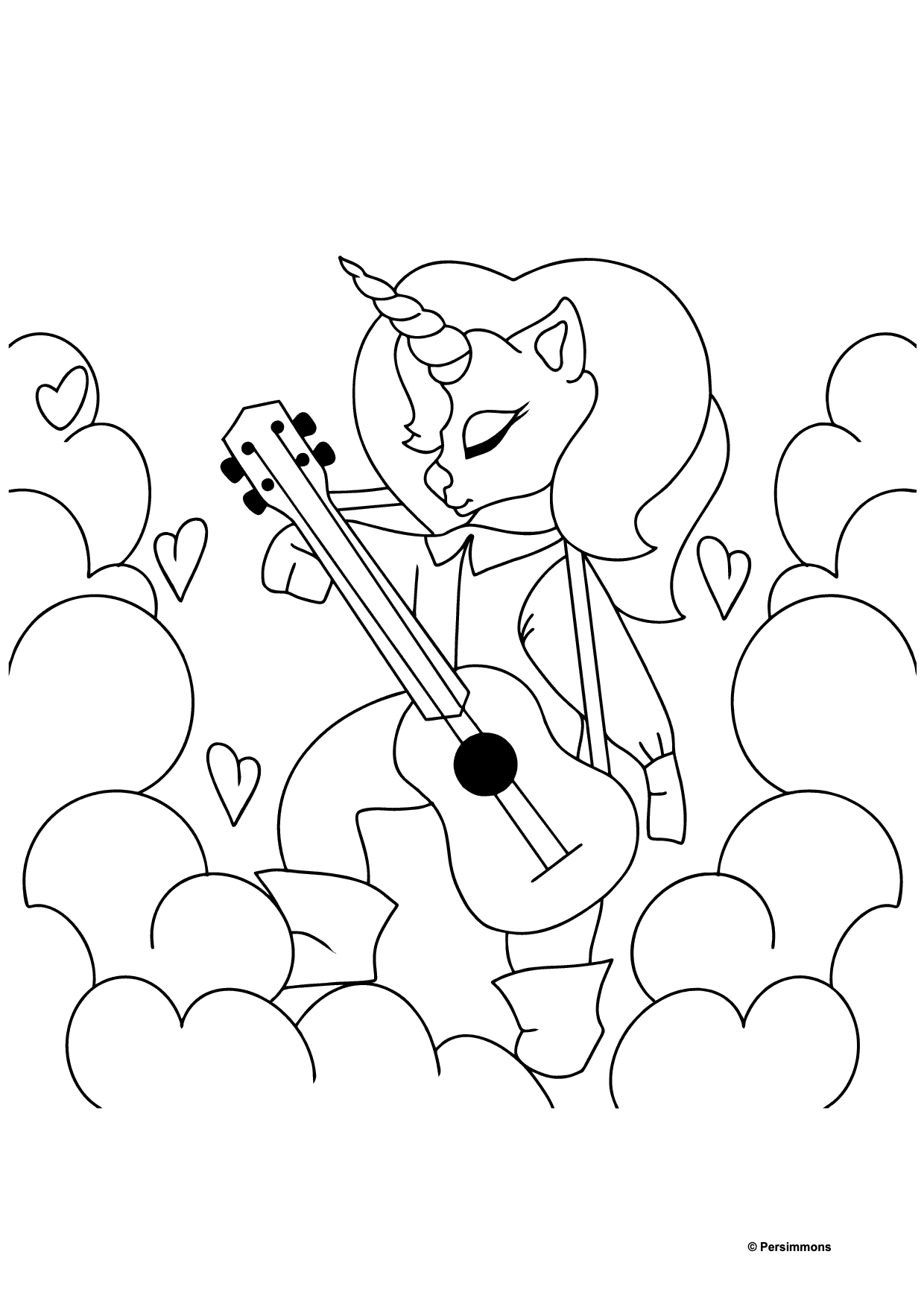 Simple Coloring Page - A Unicorn with a Guitar for Kids