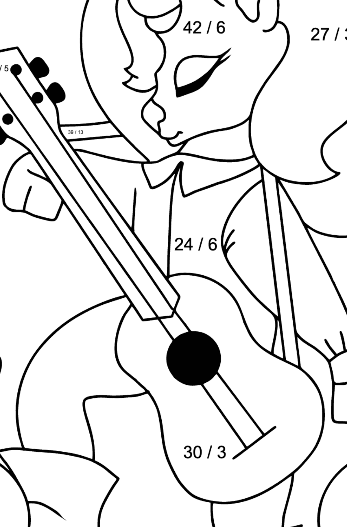 Simple Coloring Page - A Unicorn with a Guitar for Children  - Color by Number Division
