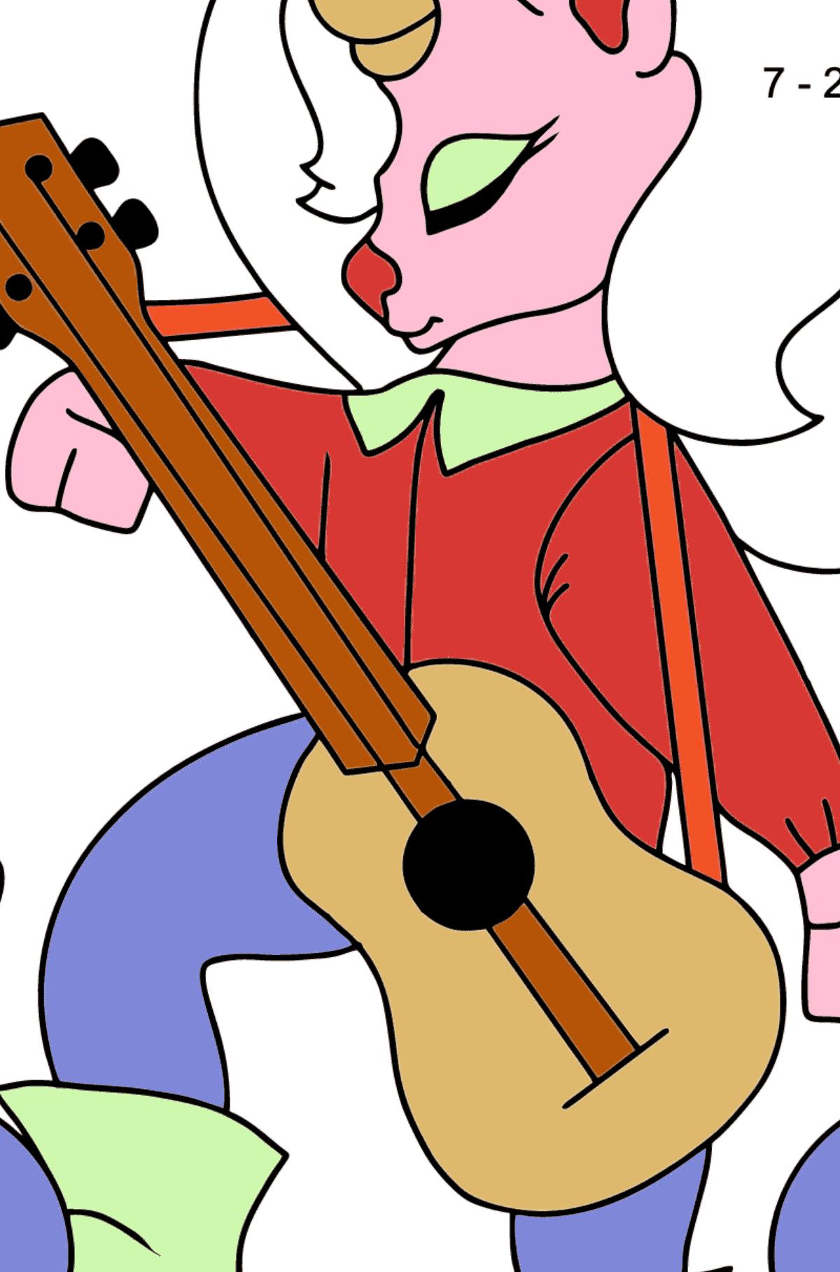 Página para Colorear Sencilla - Un Unicornio con una Guitarra