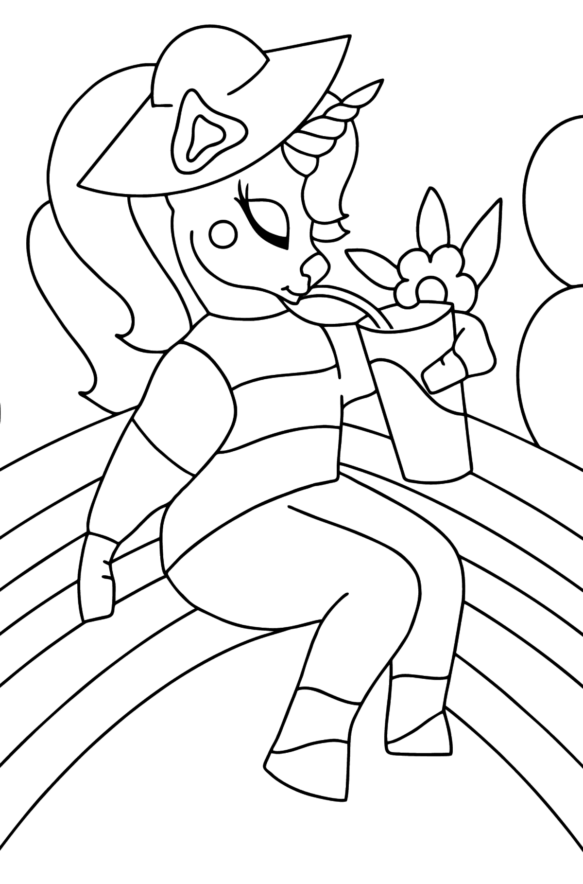Simple Coloring Page - A Unicorn with a Rainbow - Coloring Pages for Kids