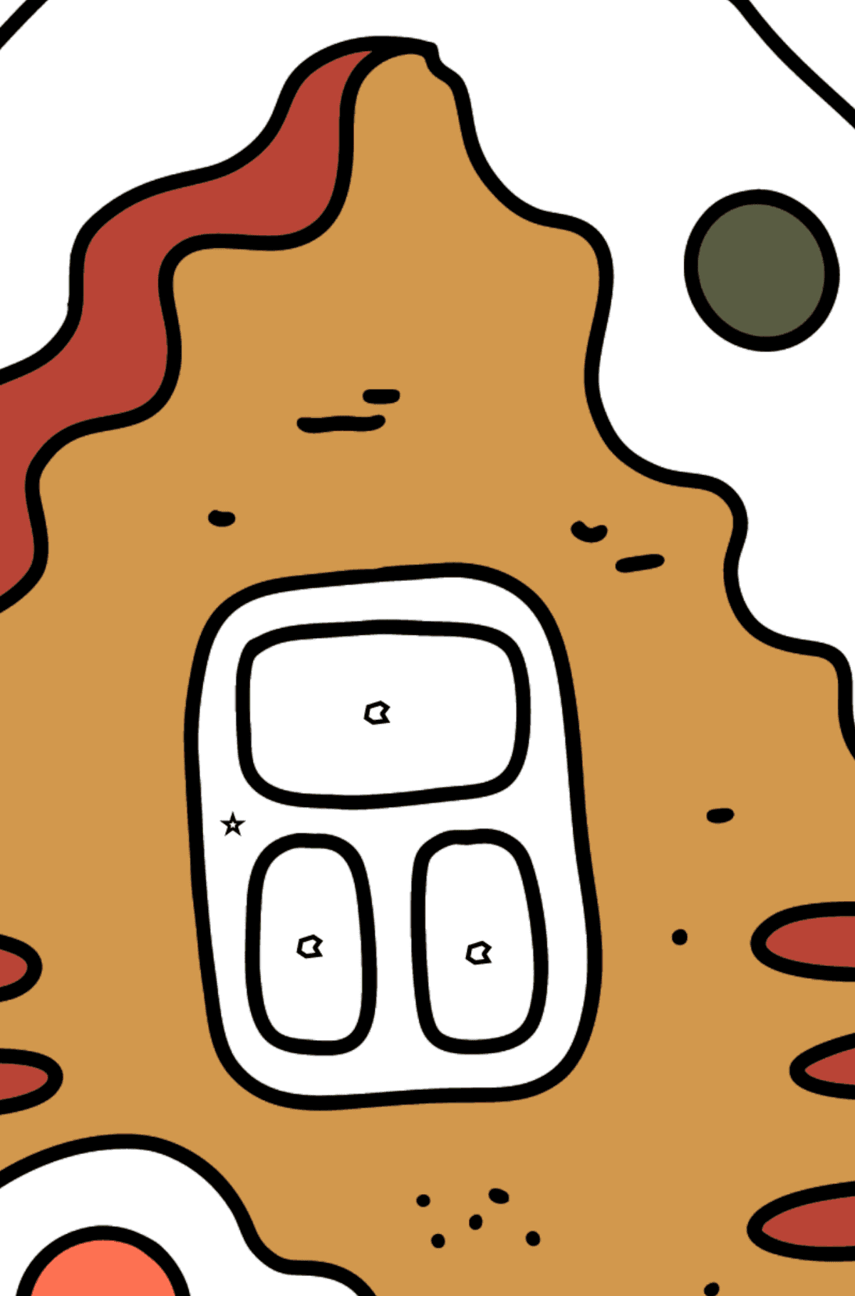 Раскраска красивый пряничный домик - Раскраска по Геометрическим Фигурам для Детей