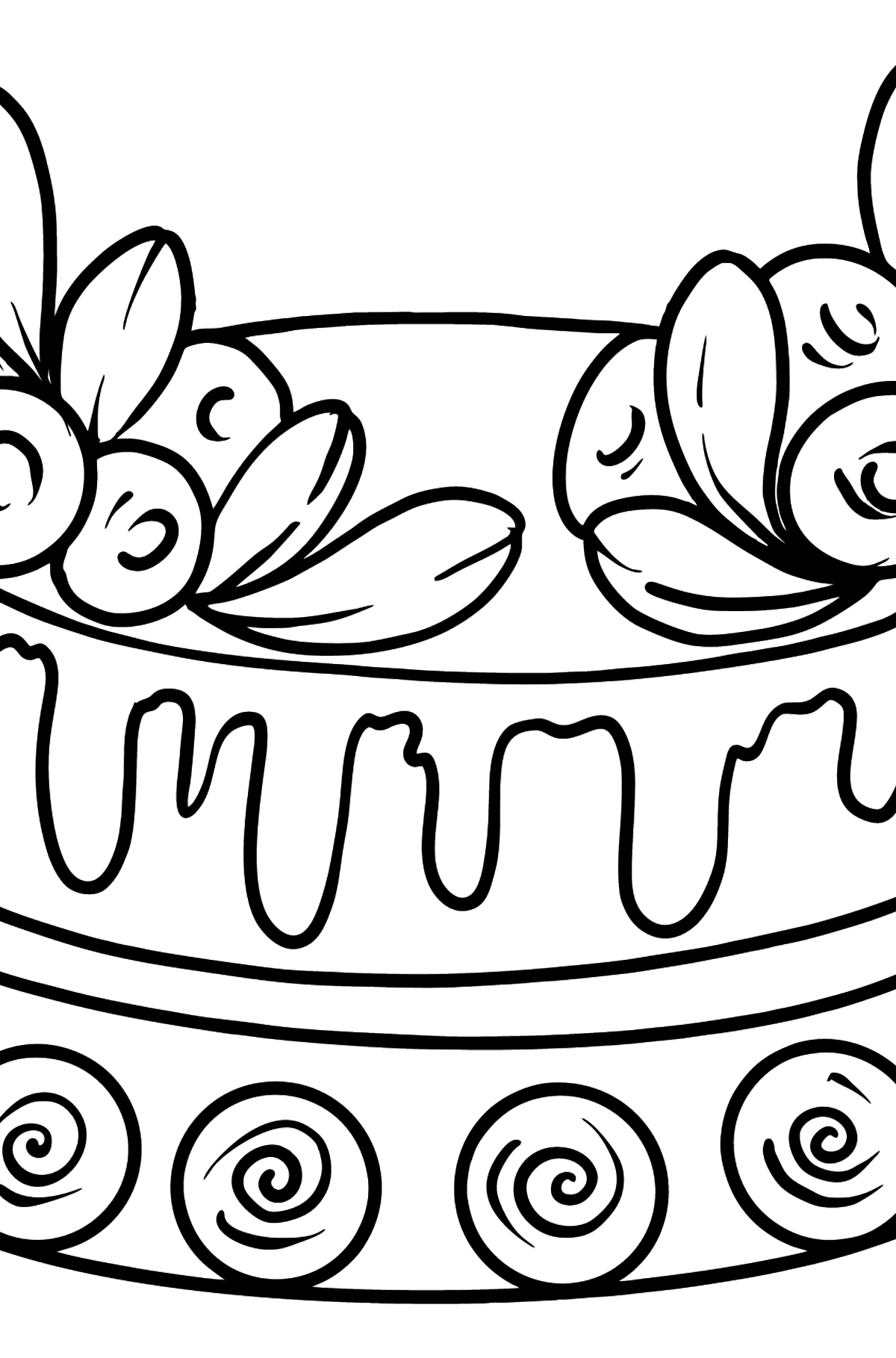 Coloring page - Cake with icing - Coloring Pages for Kids