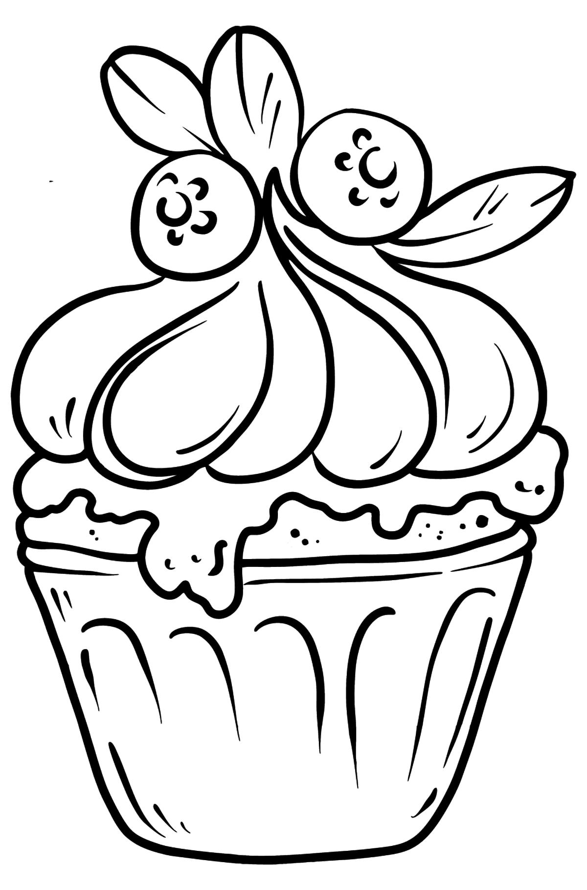 Раскраска вкусный кекс - Картинки для Детей